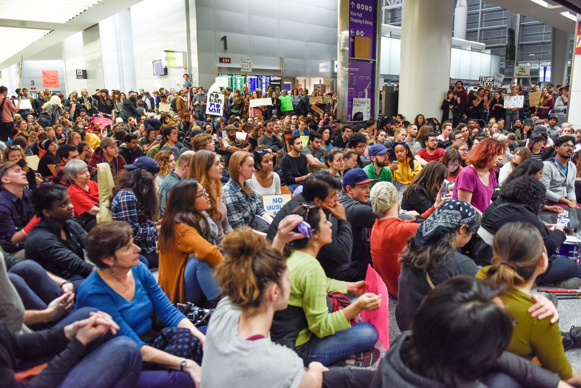 Demonstrators during anti-Donald Trump immigration ban protests in Terminal 4 at San Francisco International Airport.