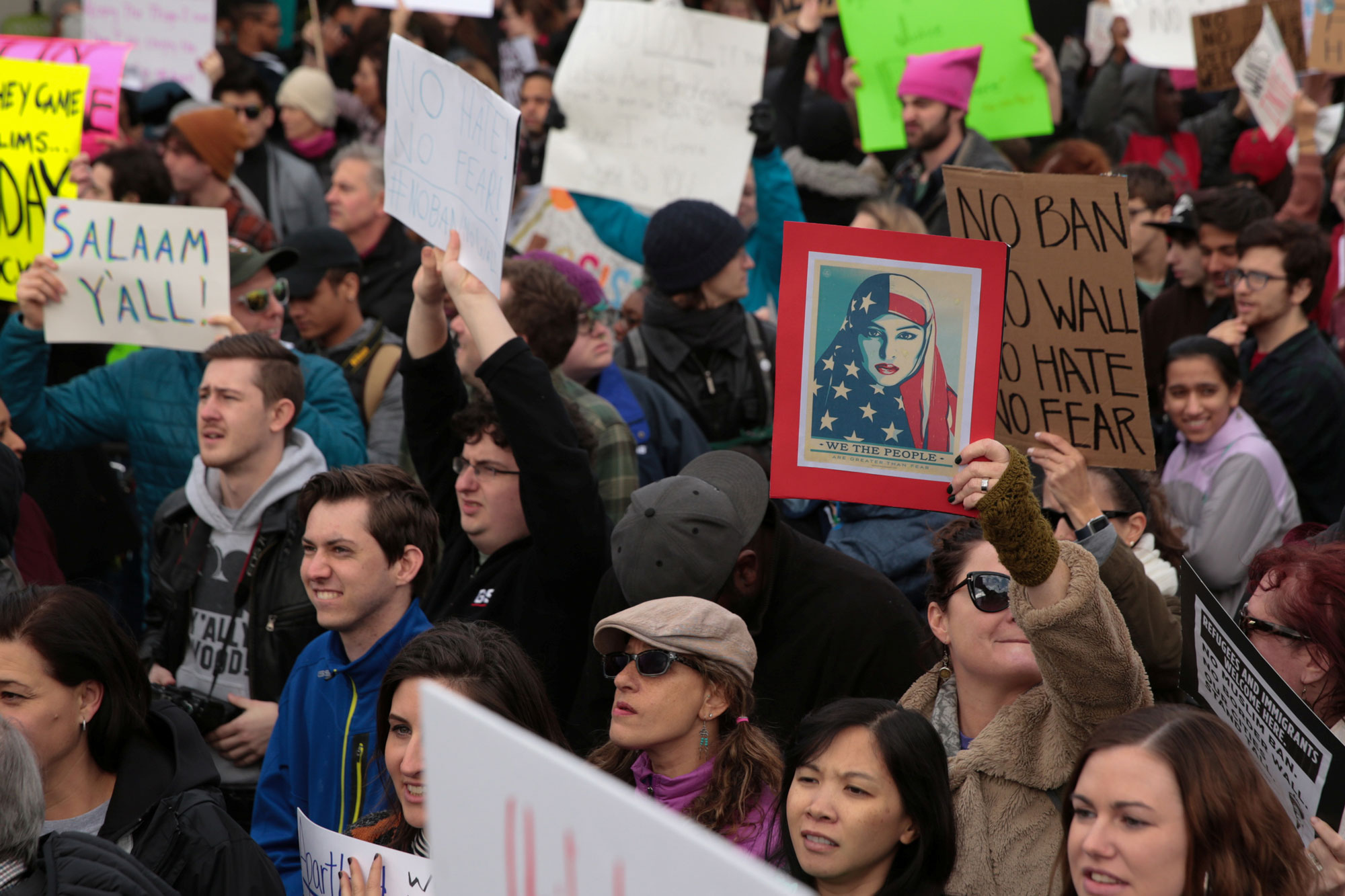 Thousands of people attend an anti-Donald Trump travel ban protest outside Hatfield-Jackson Atlanta International Airport.