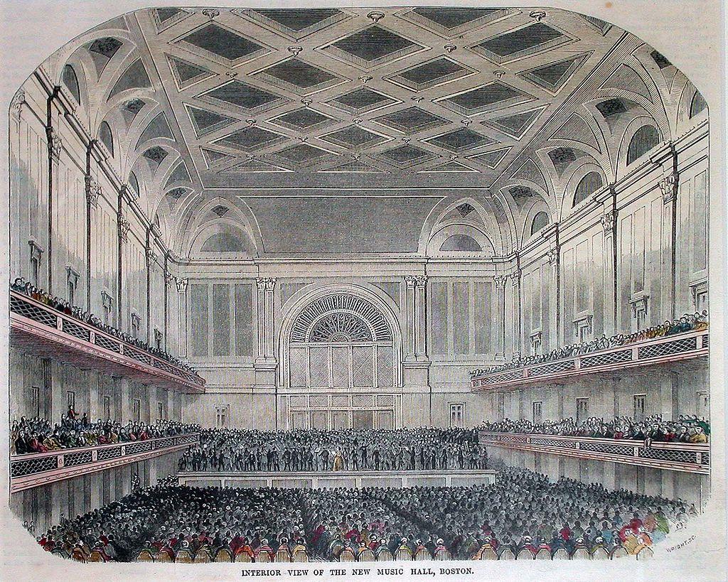 1852 illustration of the interior of the Boston Music Hall