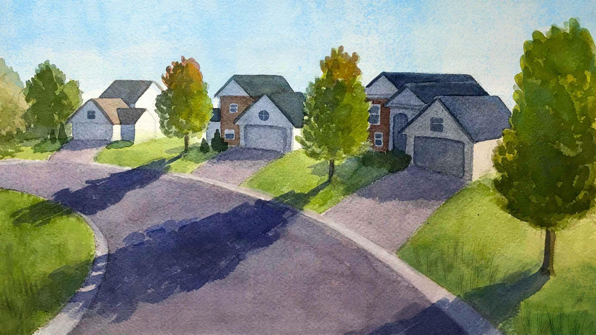 Painting of suburban street