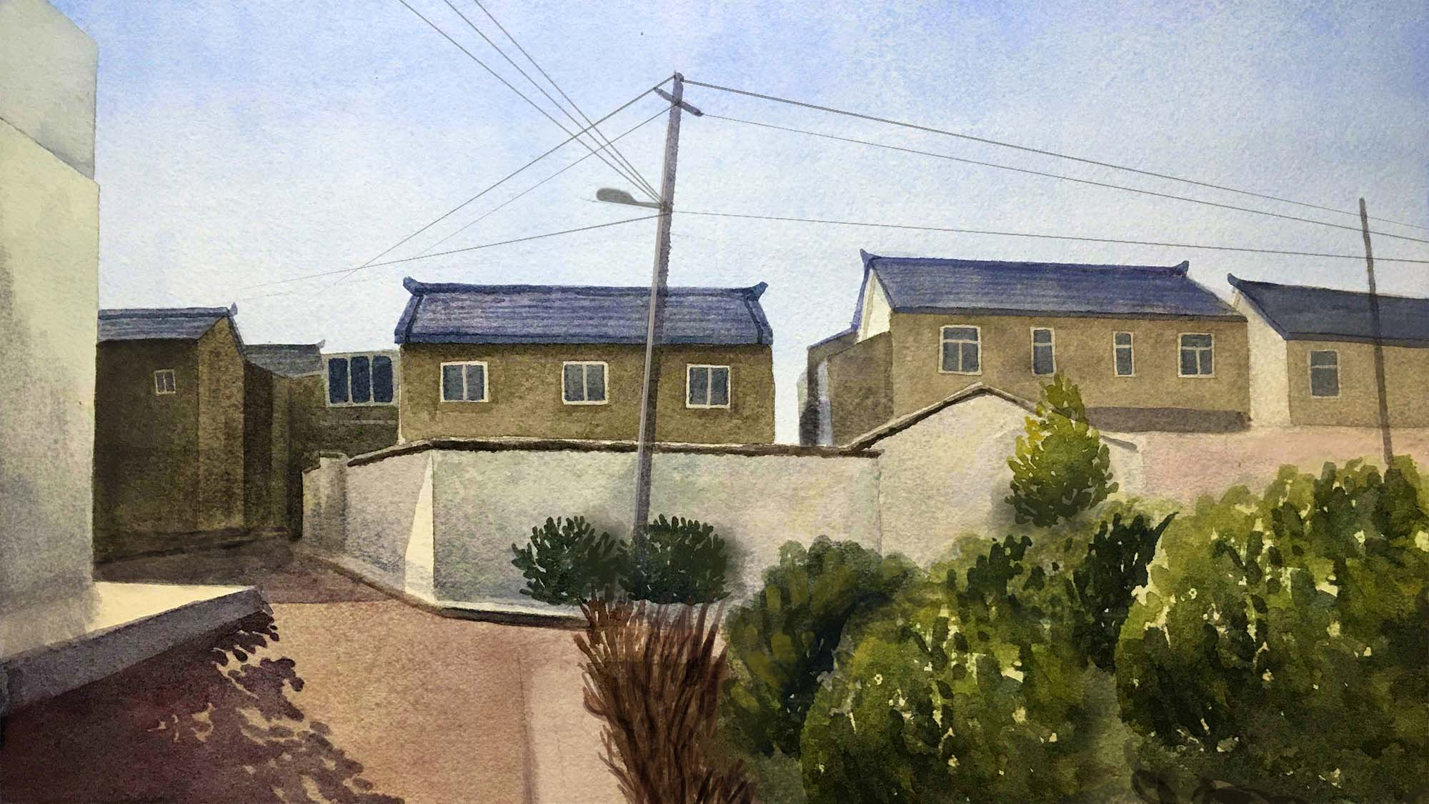 Painting of a street corner with homes walled off and power lines