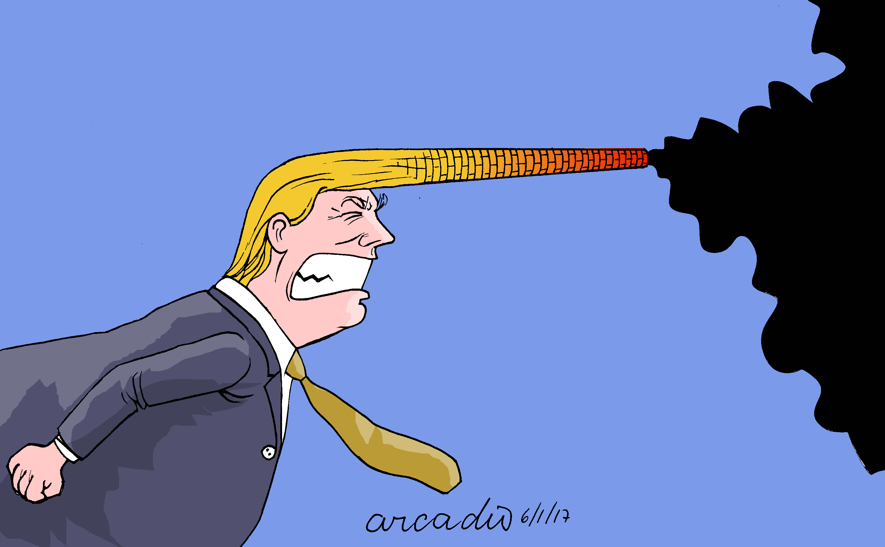 Cartoon of Trump's hair forming smoke stack and blowing out dirty air
