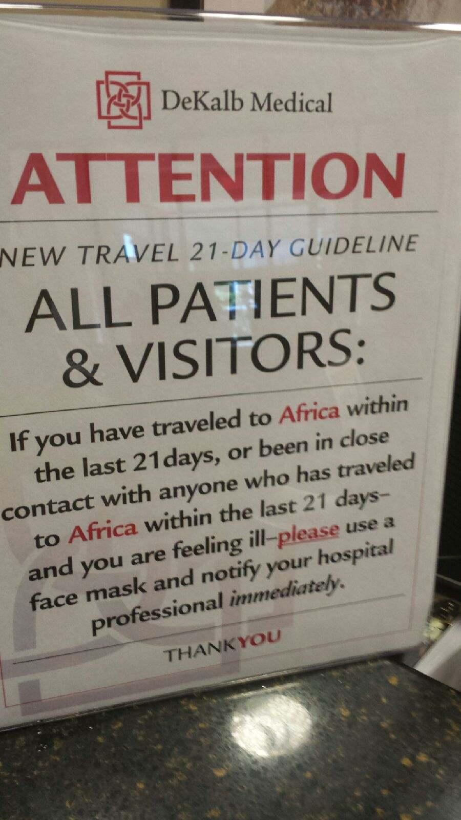 Sign at hospital