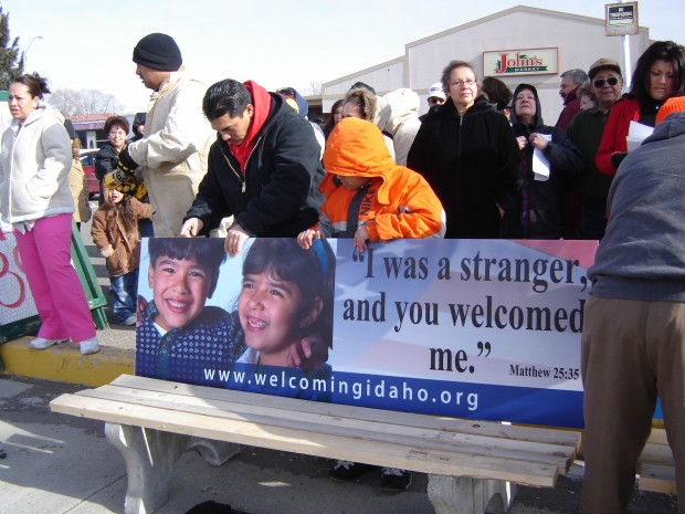Signs on bus benches in Boise promoted acceptance of new arrivals. (Photo: Welcoming Idaho)