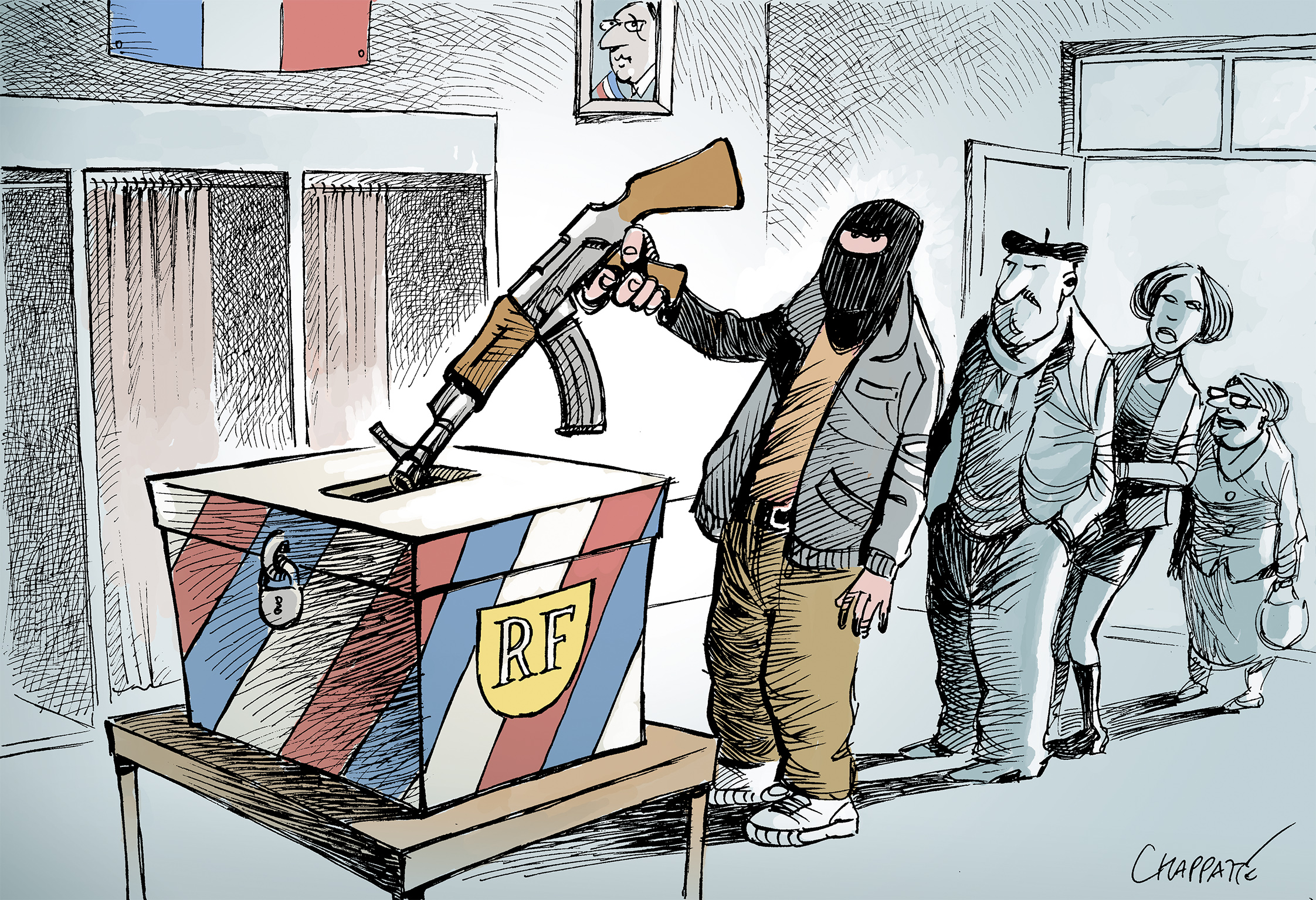cartoon showing an IS terrorist voting in French election