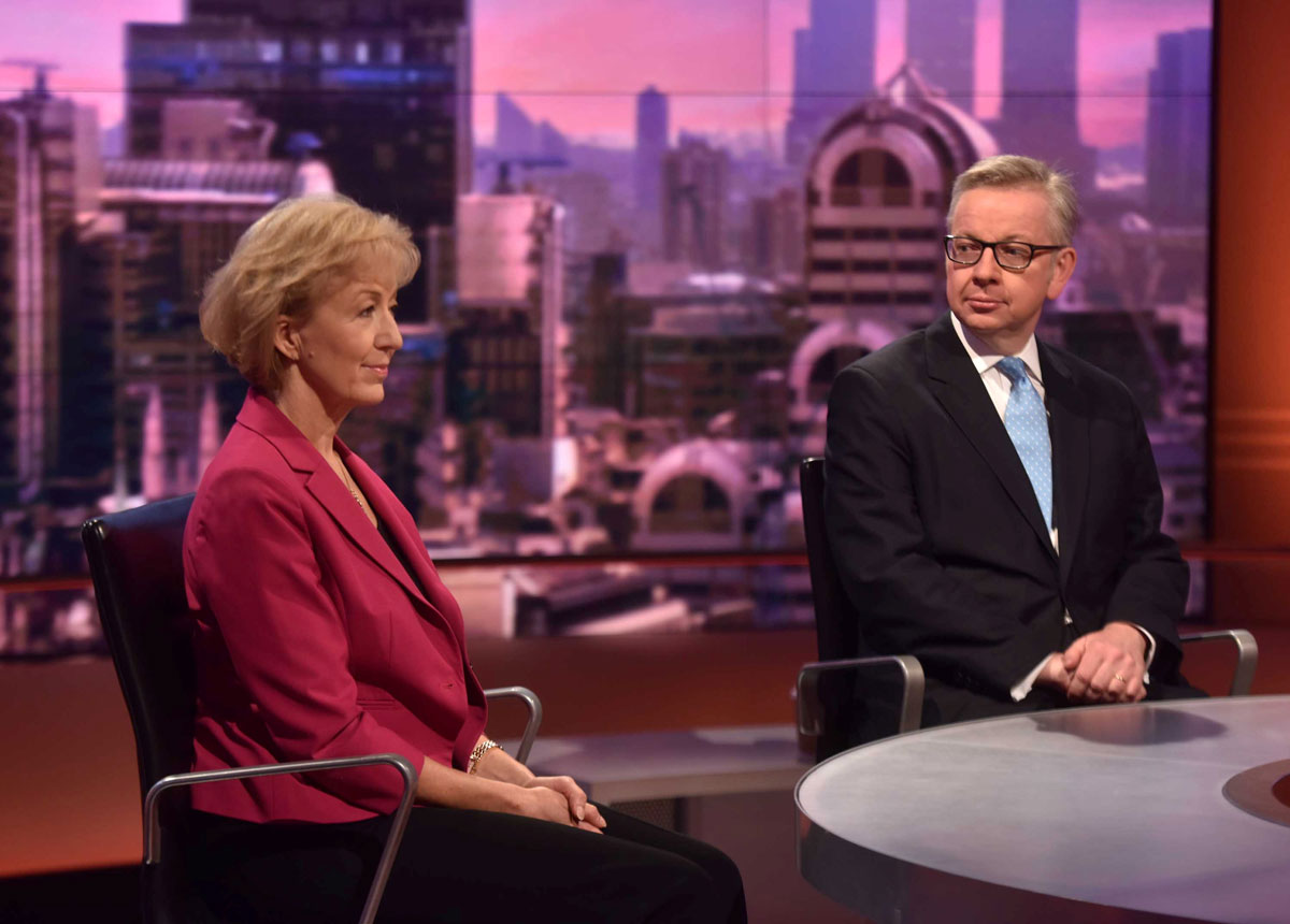 Andrea Leadsom and Britain's Justice Secretary Michael Gove, both candidates to succeed David Cameron as British prime minister, are seen appearing on the BBC's Andrew Marr Show.
