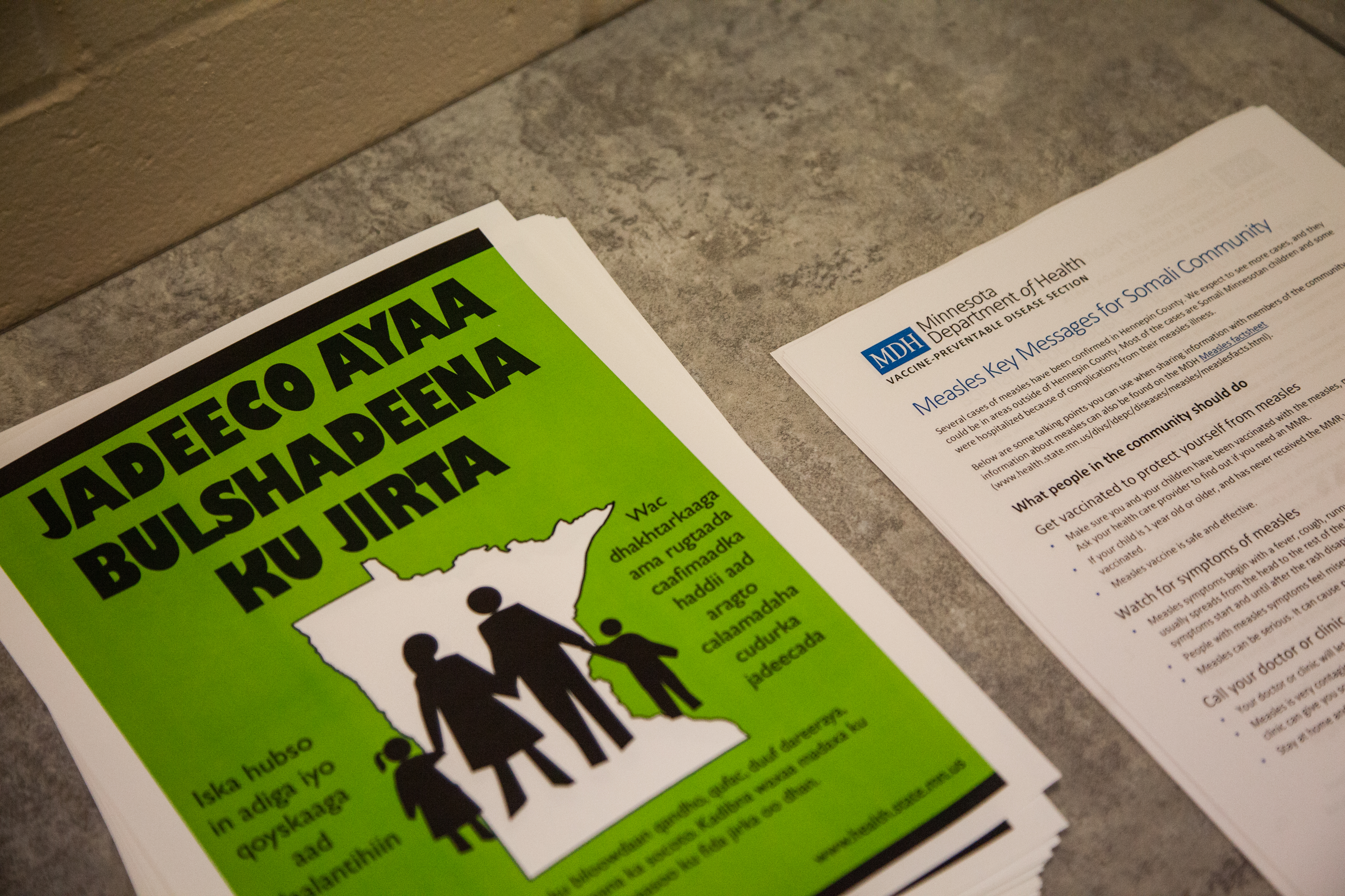 Fliers about vaccination, close-up shot