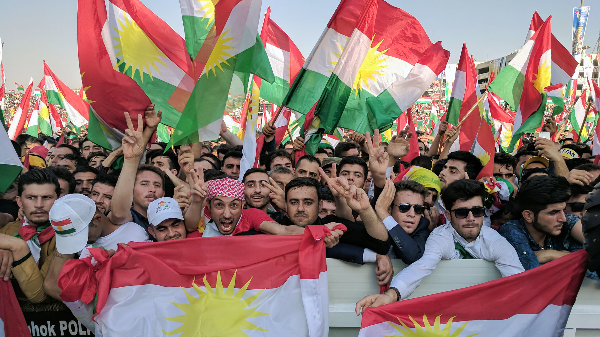 Tens of thousands turn out for a rally in Erbil, northern Iraq, in support of Kurdistan's independence referendum.