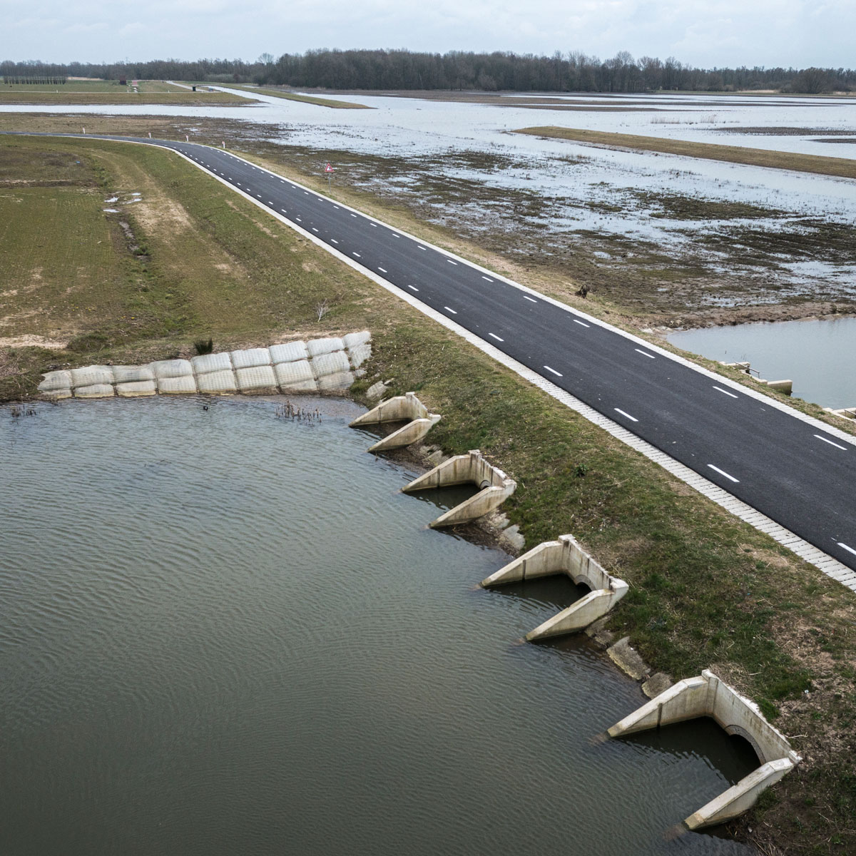 A new dike reopens some of the historic floodplain of the Rhine River (R) near Nijmegen, the Netherlands from still-protected land (L).