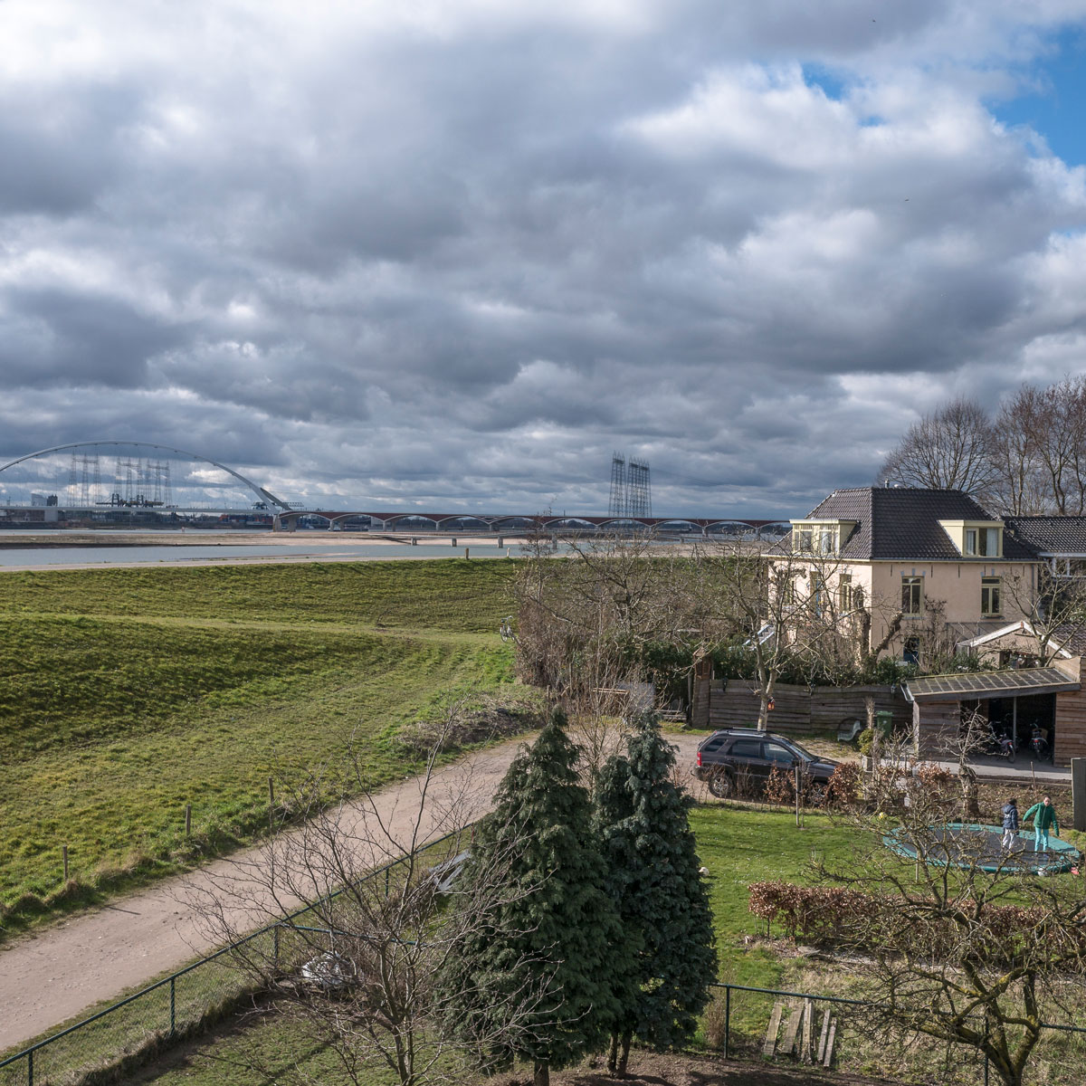 A bird's-eye view of part of the Room for the River project along a branch of the Rhine River in Nijmegen, the Netherlands.