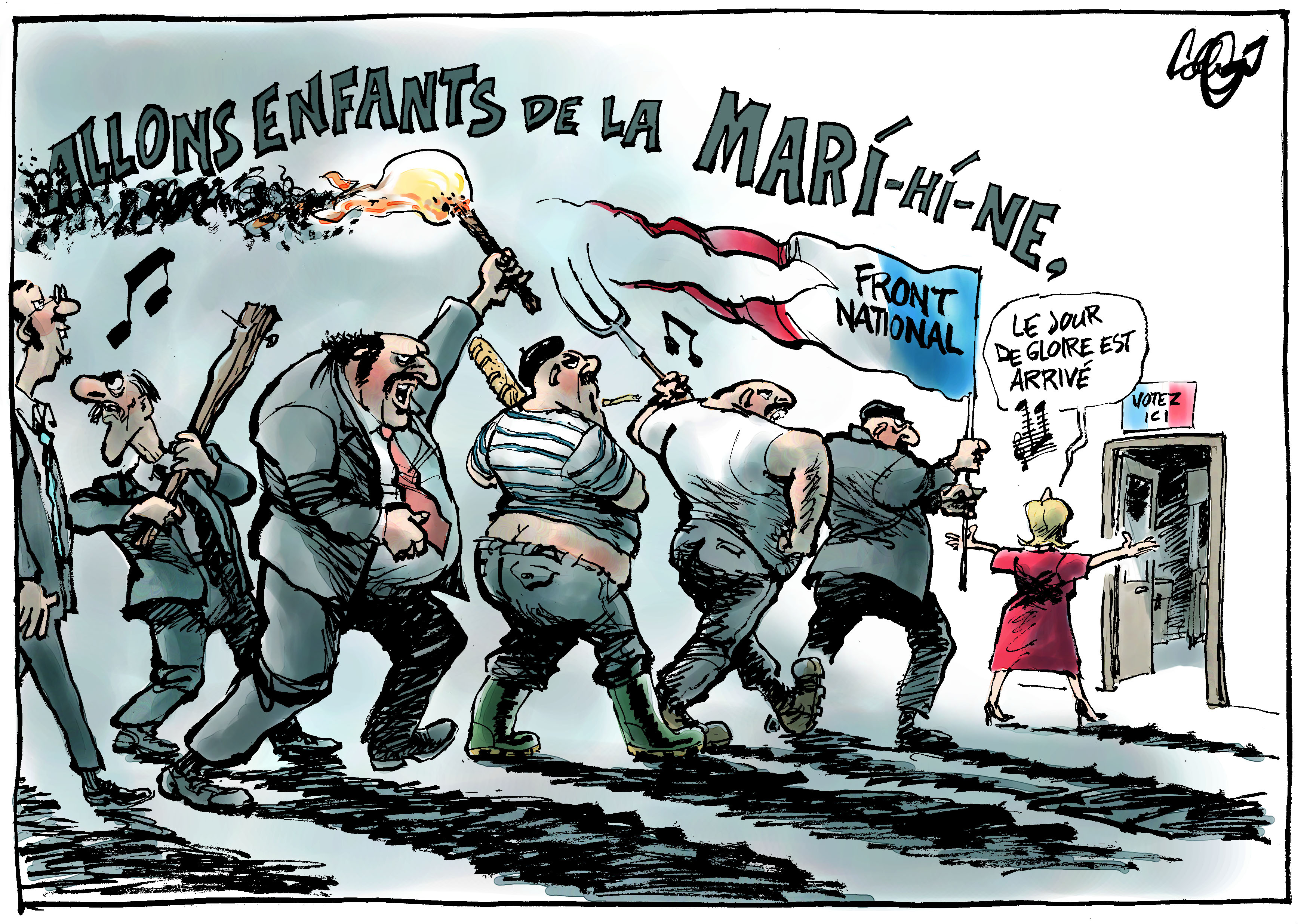 cartoon showing LePen fans chasing after her