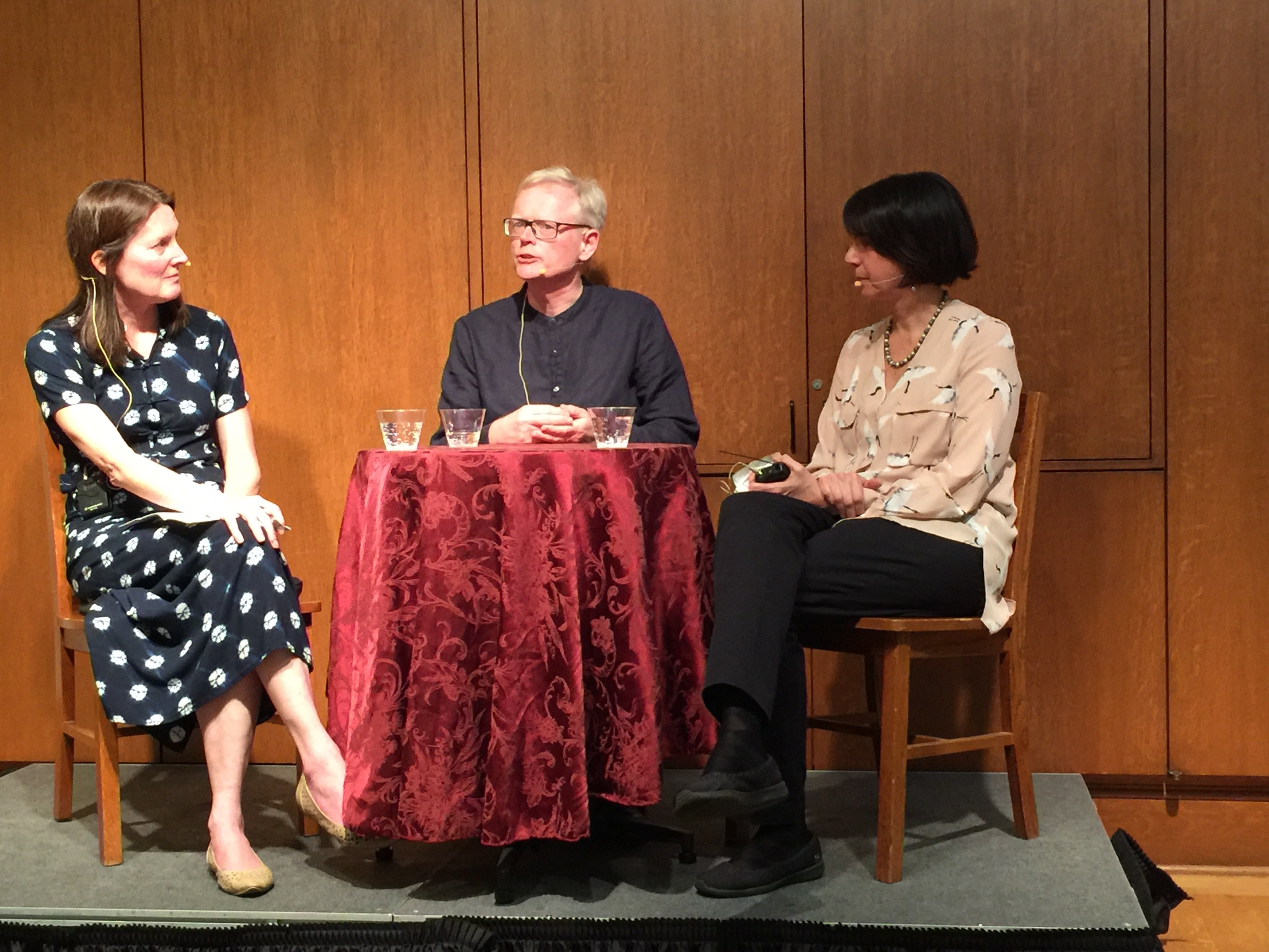 "Mary Kay Magistad (left),host of the Whose Century Is It? podcast, with Ian Johnson, author of ""The Souls of China,"" and Jennifer Lin, author of ""Shanghai Faithful,"" at The Mechanics Institute in San Francisco."
