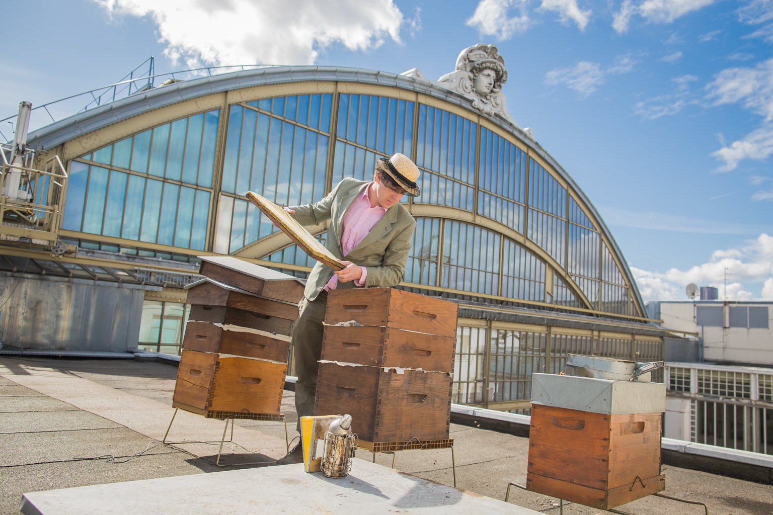 Audric De Campeau With His Hives On The Roof Of The Musee D