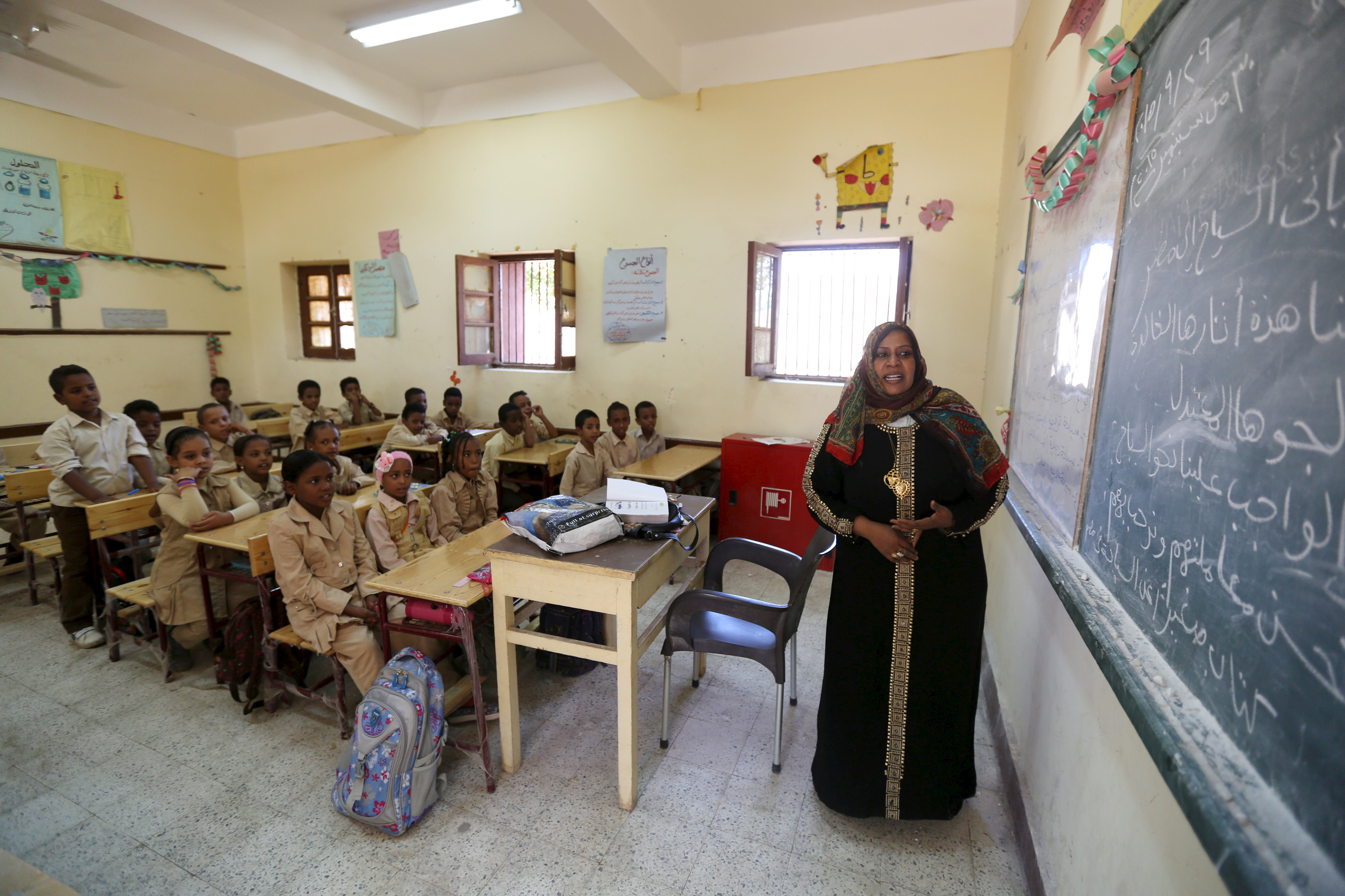 A teacher conducts a lesson at a school in the Nubian village of Adindan.