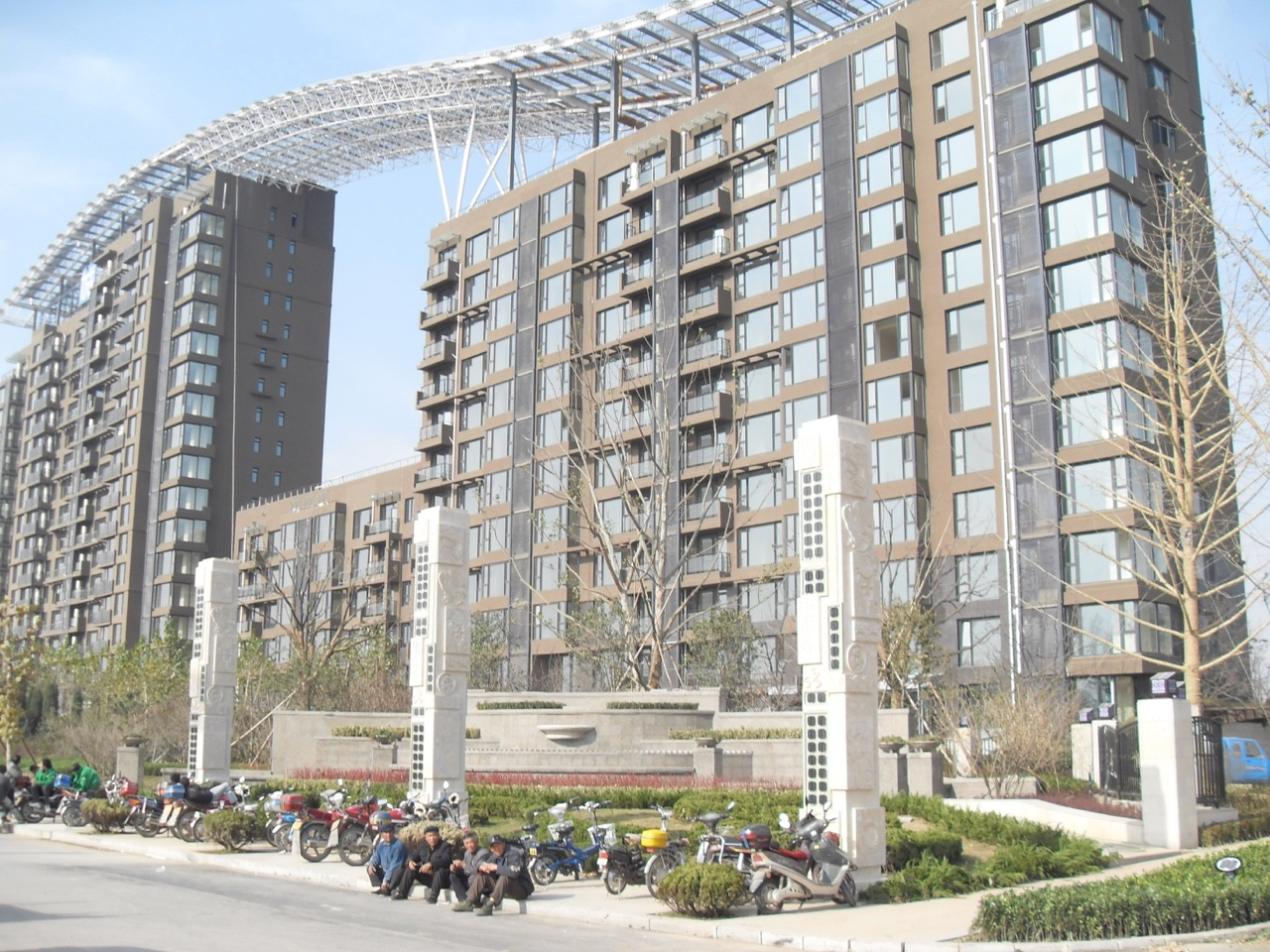 Solar panels on apartment building in Dezhou, Shandong province, China