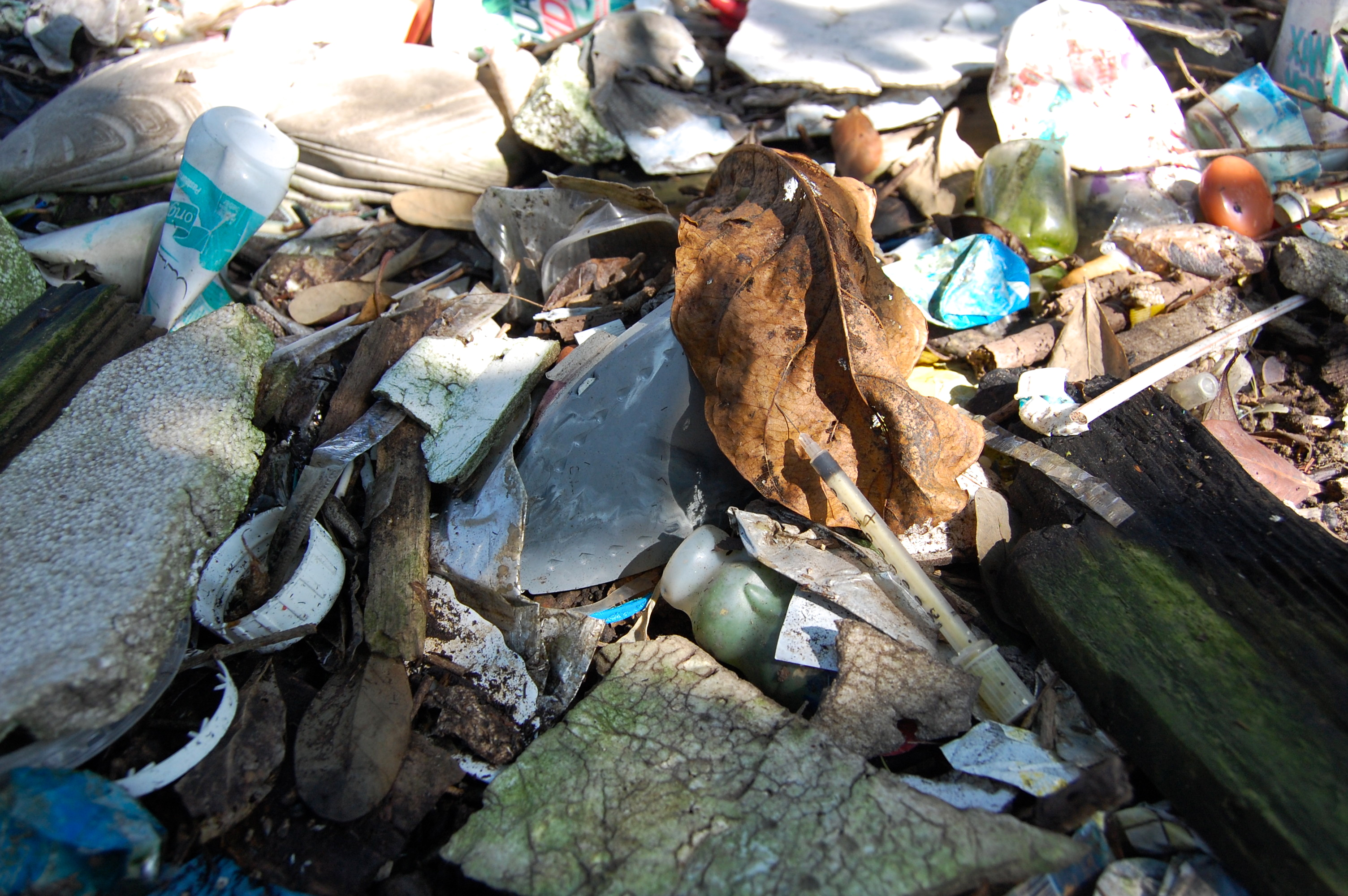 A syringe sits on top of other garbage lining the shores of Rio's Guanabara Bay