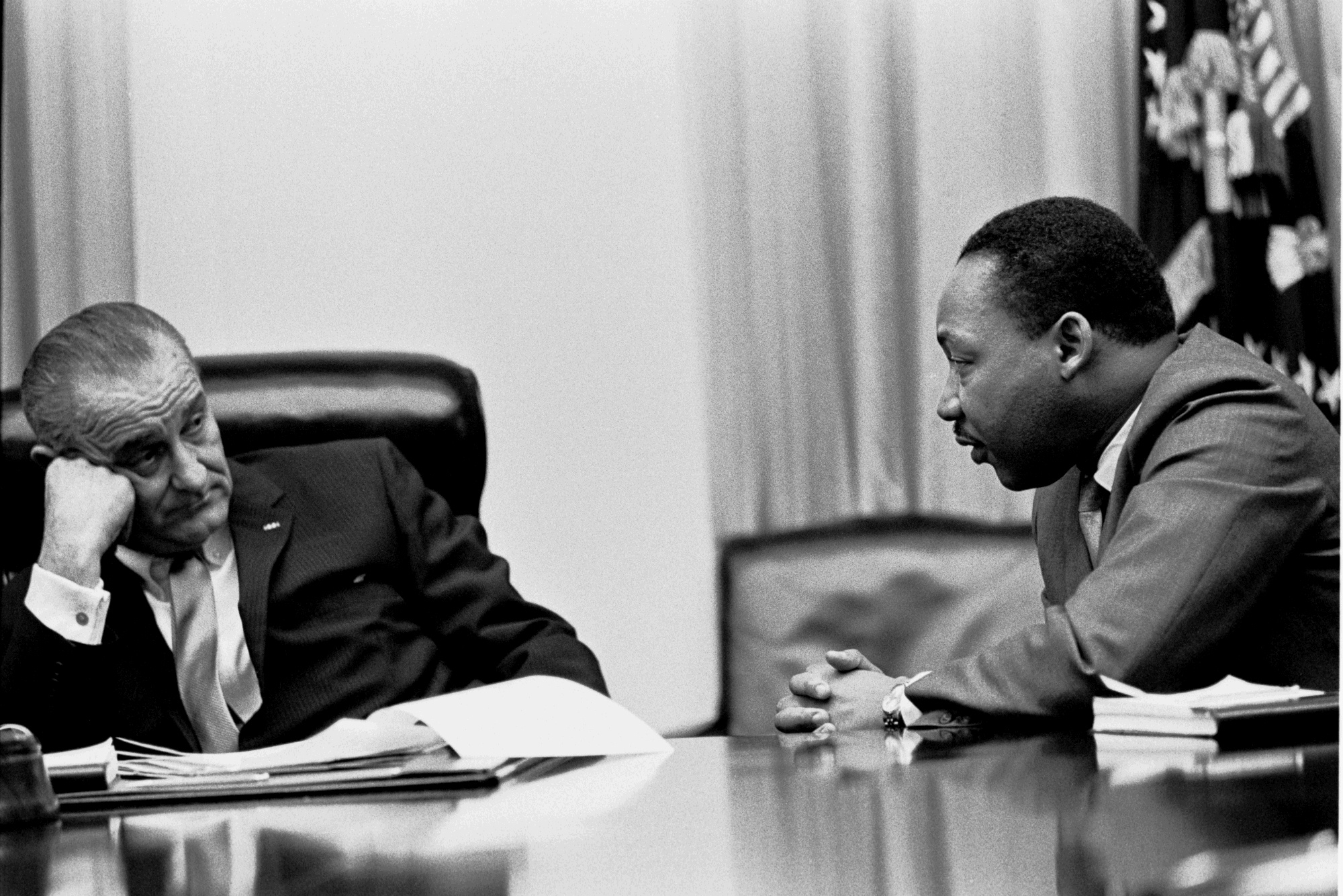 L-R: President Lyndon B. Johnson, Martin Luther King, Jr.