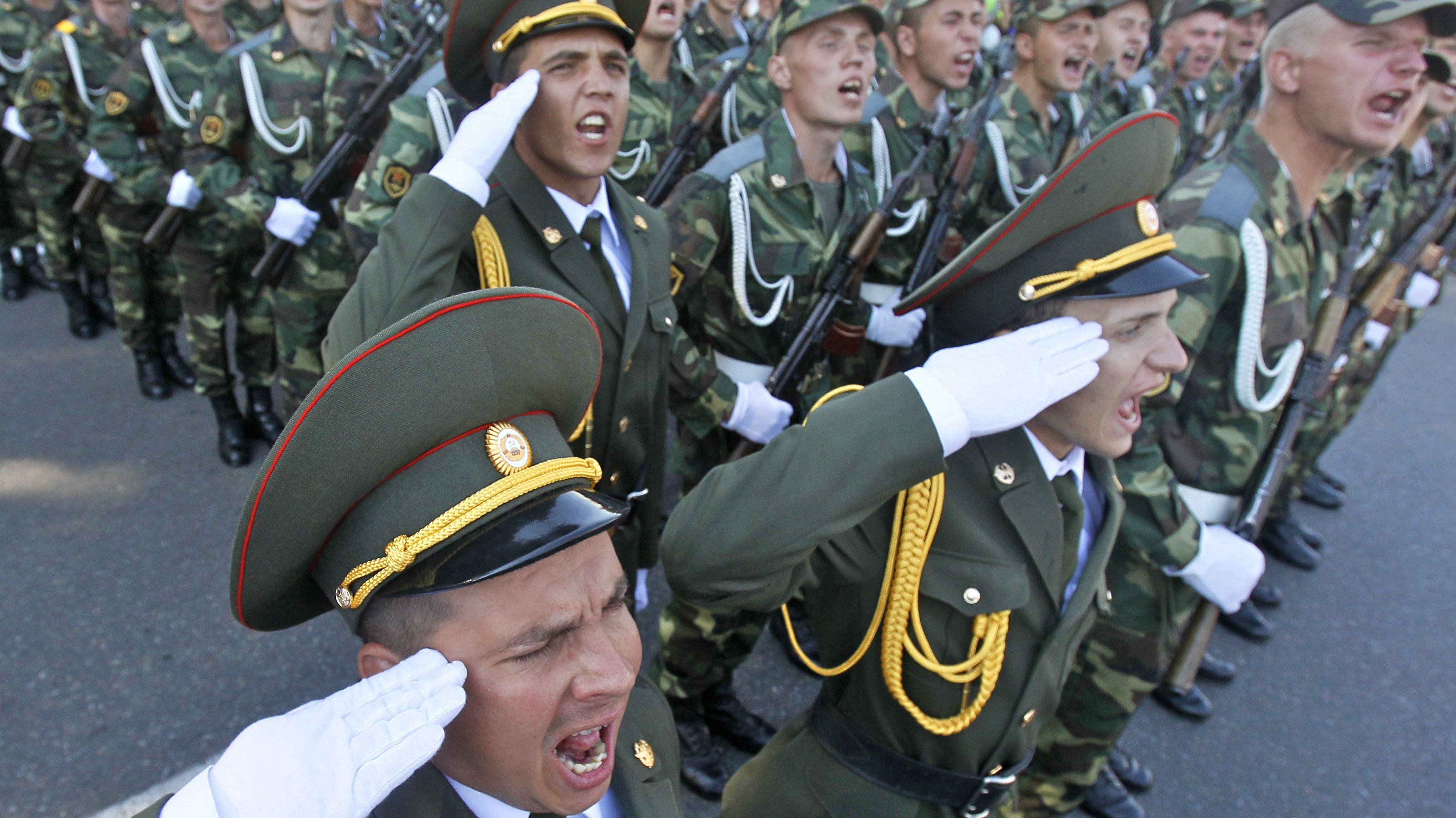 Soldiers of Moldova's self-proclaimed separatist Transnistria region take part in a military parade in Tiraspol.