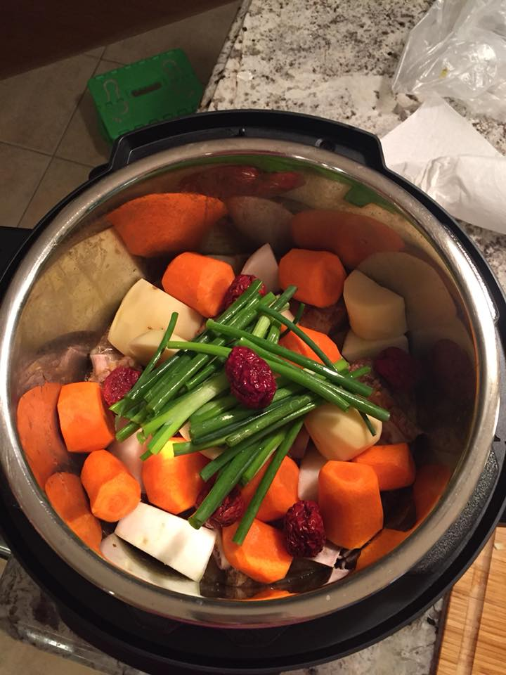 Top of pot filled with vegetables