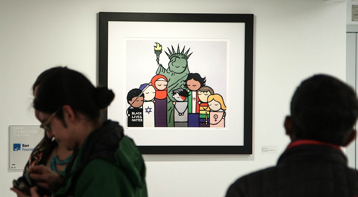 """Bren Bataclan's painting, """"Liberty for All"""" at the BCNC Pao Arts Center in Boston."""