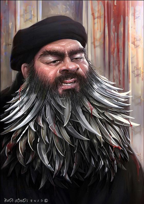 Caricature of Abu Bakr al-Baghdadi, the self-proclaimed Caliph of the so-called Islamic State.