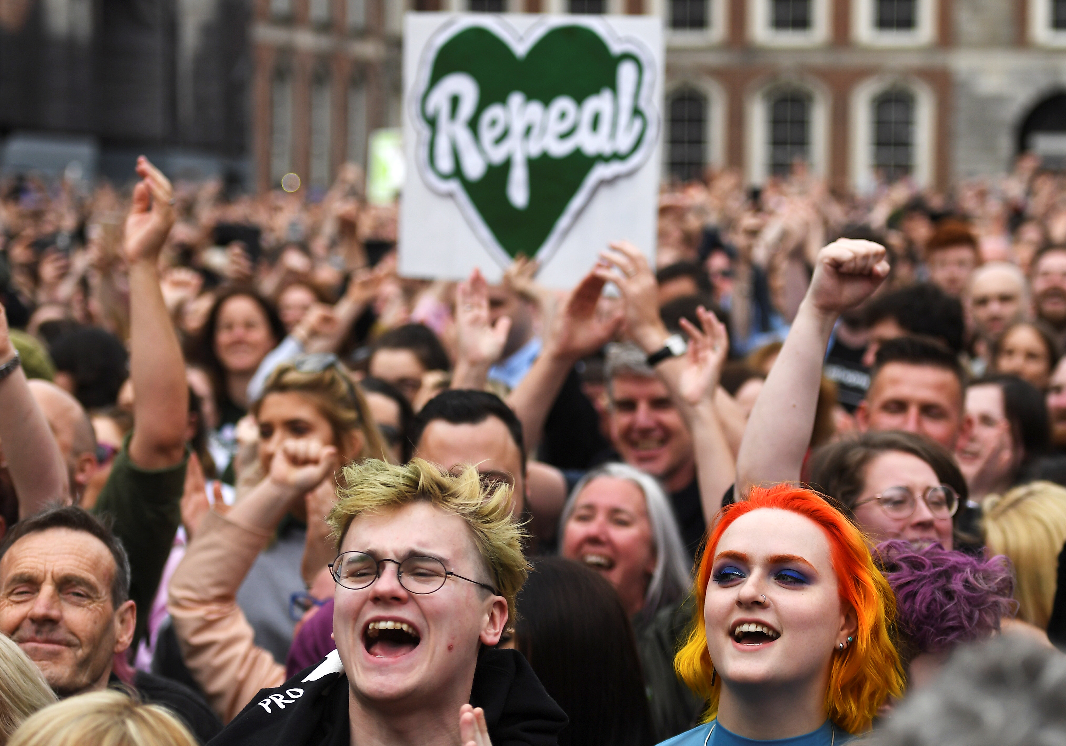 People celebrate the result of this week's referendum on liberalizing abortion law