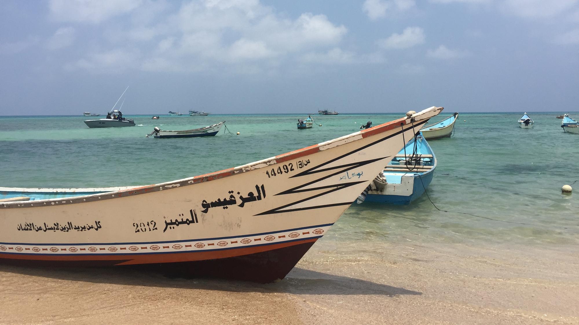 Boats anchored at Qalansiya, Socotra, Yemen