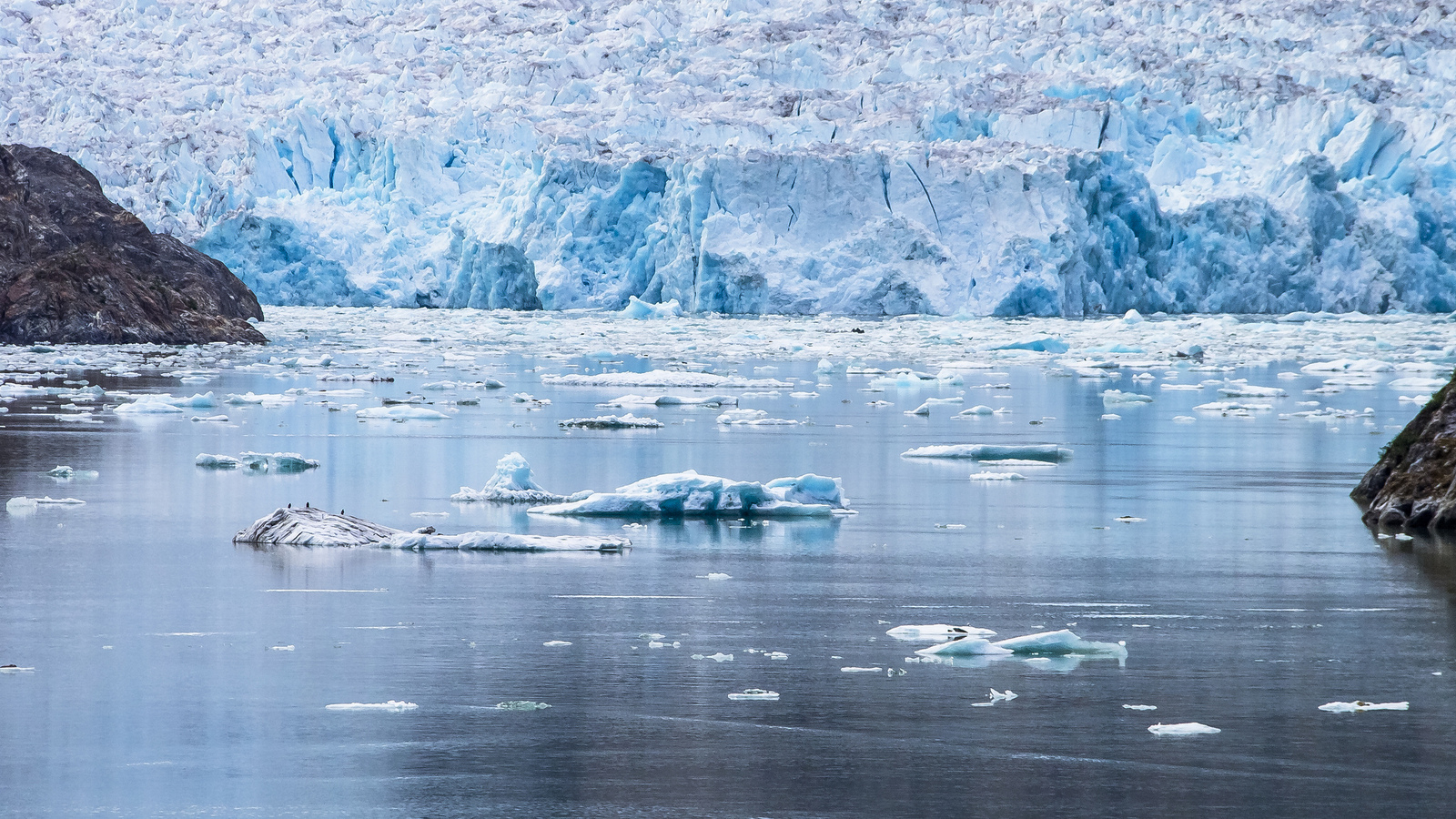Bits of icebergs can be seen that have broken off the Sawyer Glacier in Alaska, where the effects of climate change are being felt at a higher rate than the Lower 48.