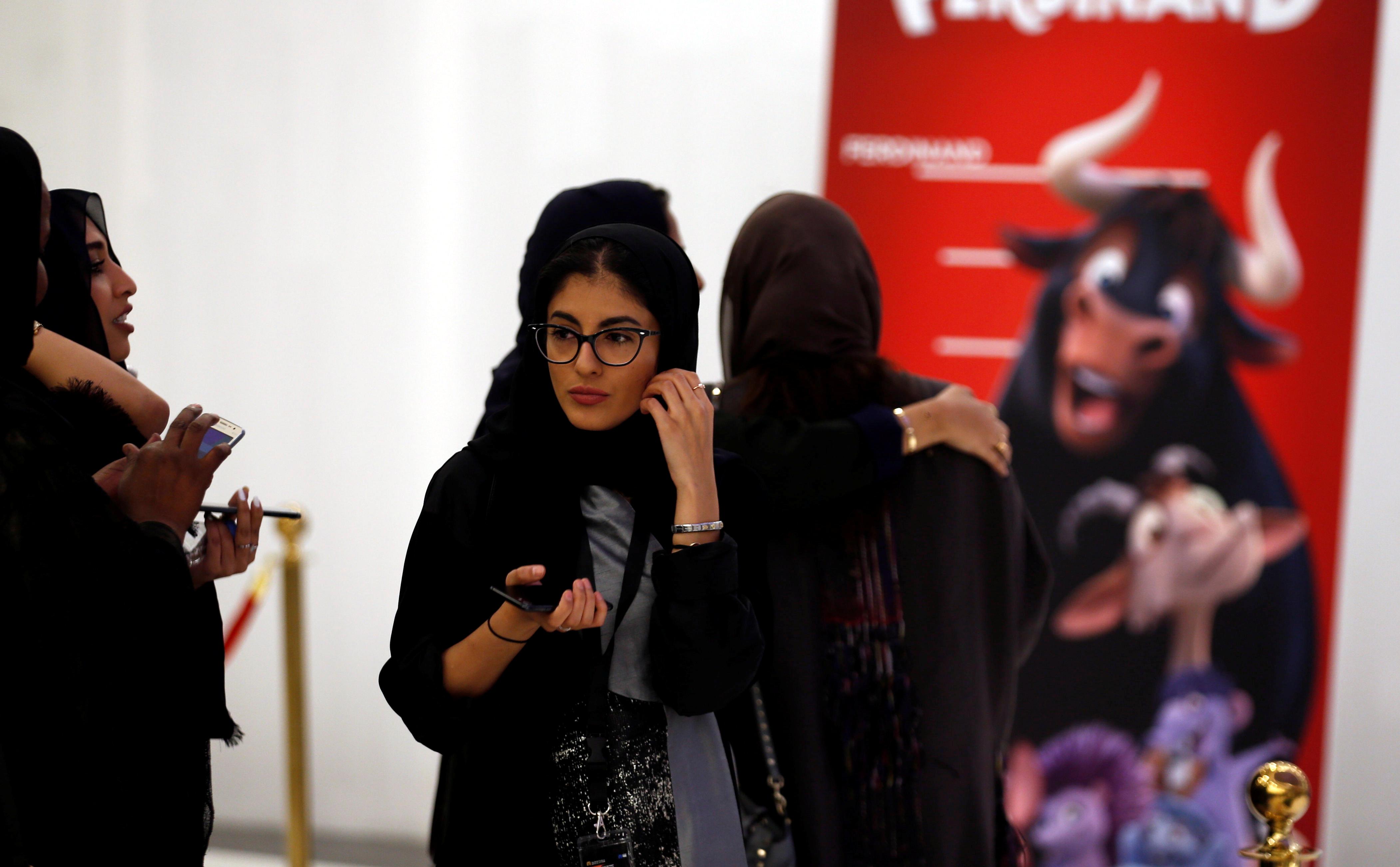 Saudi women attend the opening of a cinema at Riyadh Park mall, in Riyadh, Saudi Arabia April 30, 2018.