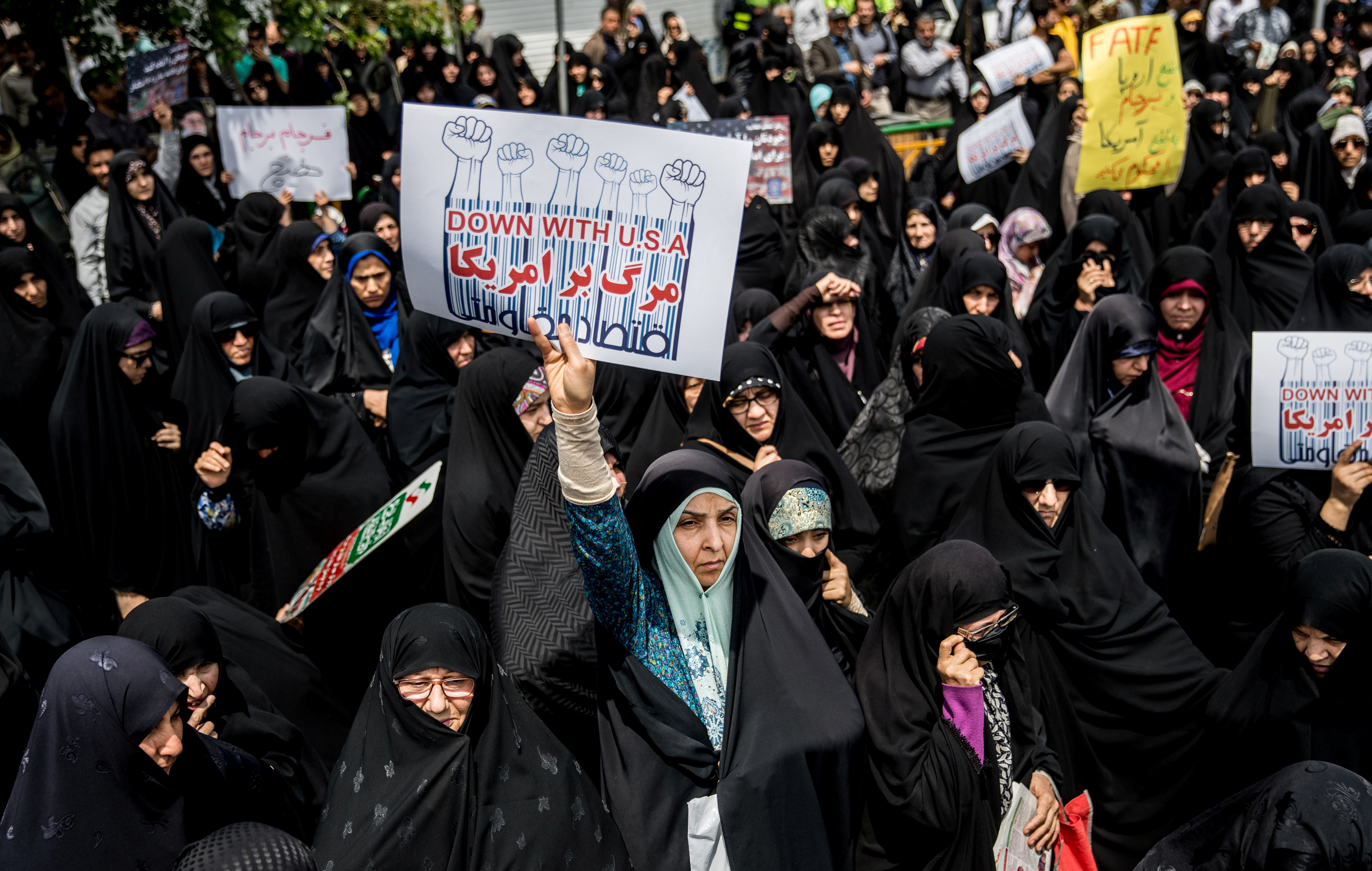 Iranian women gather during a protest against President Donald Trump's decision to walk out of the 2015 nuclear deal, in Tehran, Iran, May 11, 2018.