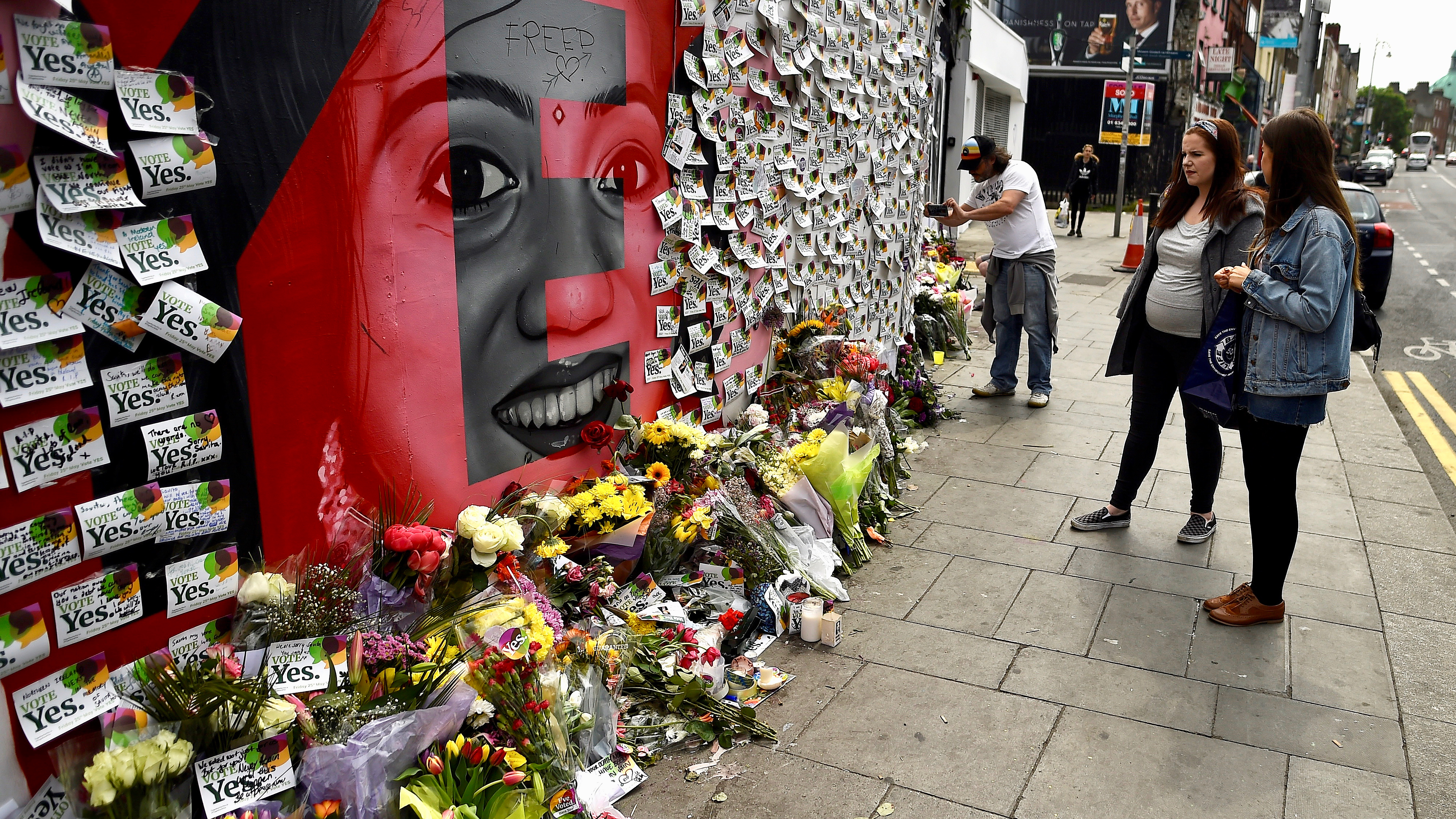 Messages are left at a memorial in Dublin to Savita Halappanava, who died from an infection after miscarrying her first child at an Irish hospital in 2012, one day after Irish voters took part in a national referendum to liberalize abortion laws on May 25