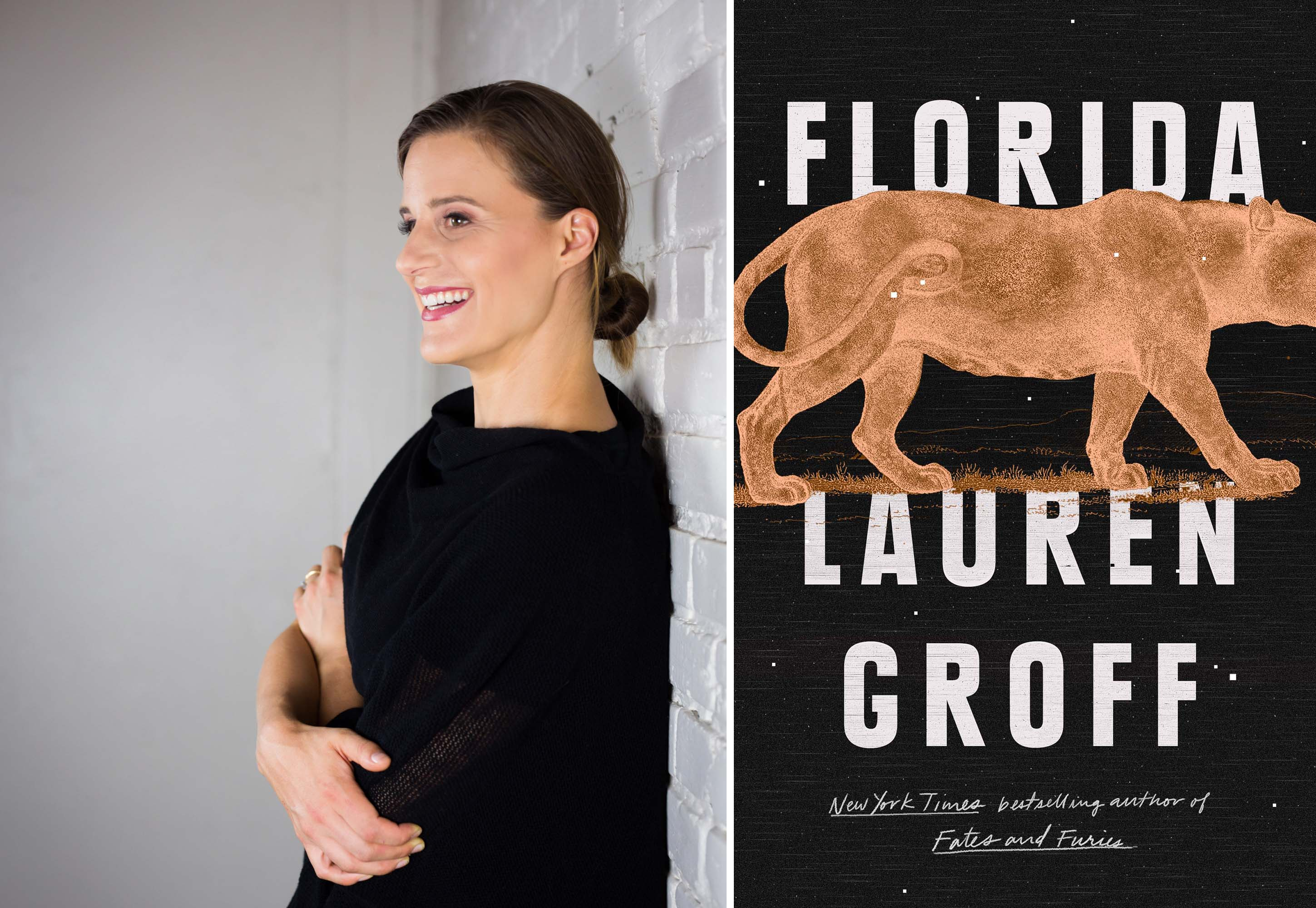"Lauren Groff and the cover of her new book, ""Florida."""
