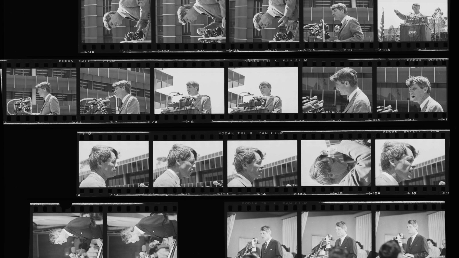 A photographic contact sheet of images of Robert F. Kennedy in 1968