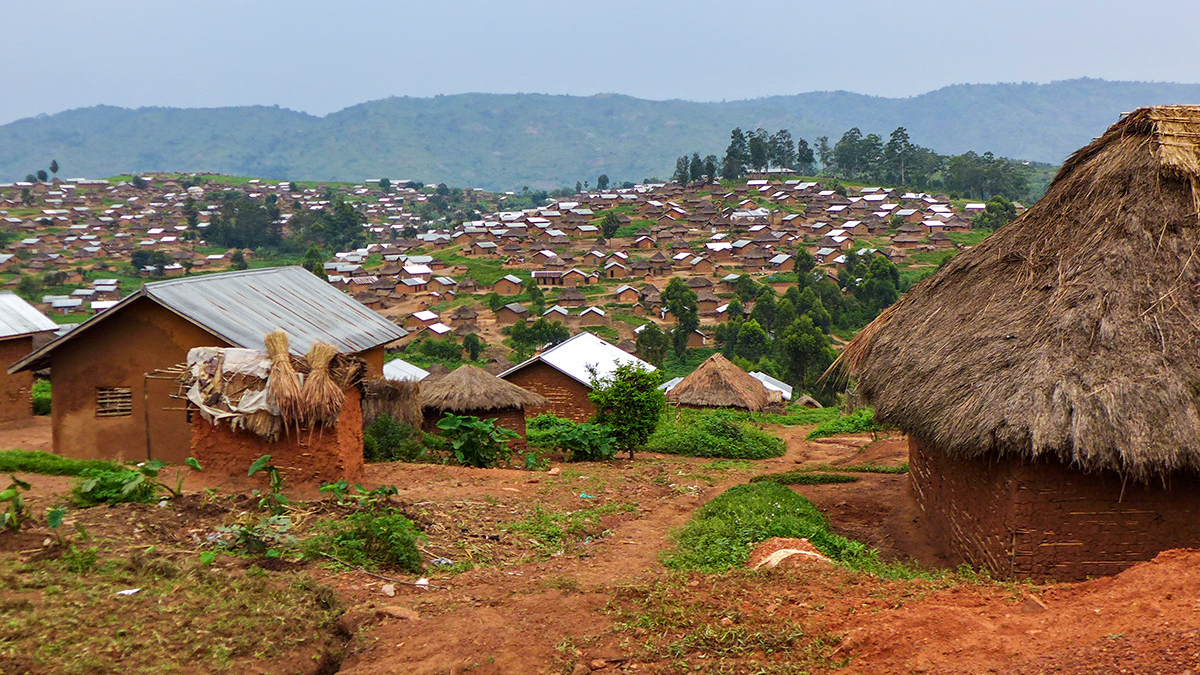 homes in a village in the Democratic Republic of the Congo