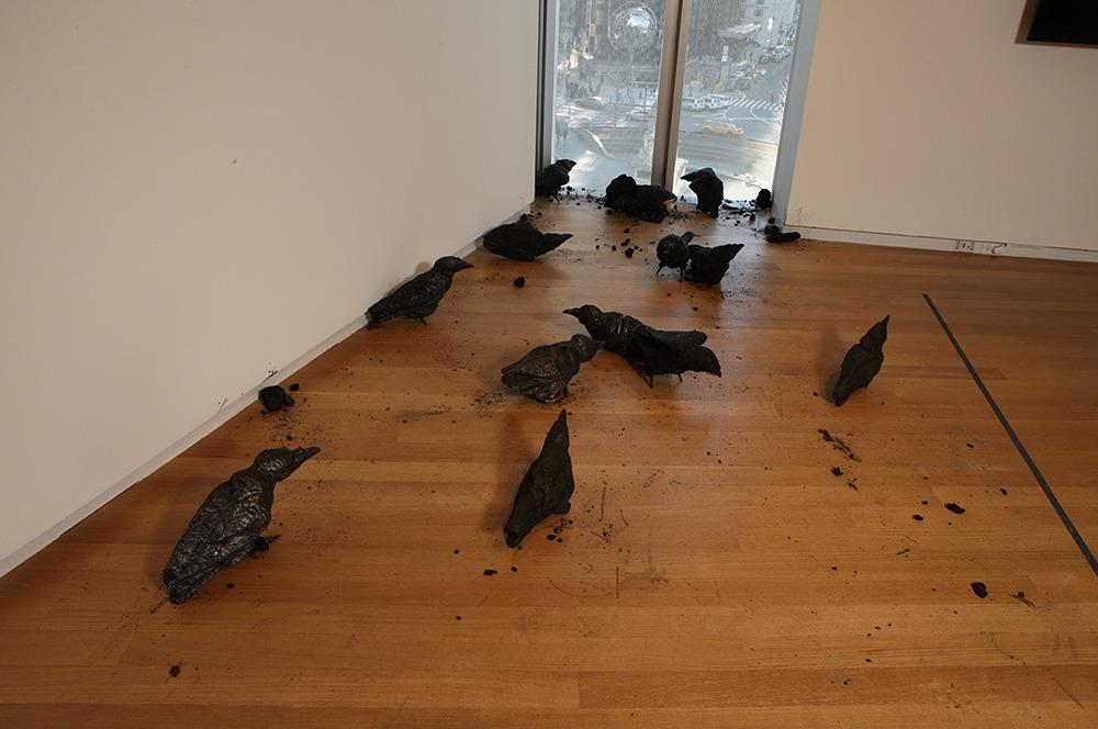 """Murder,"" 2012, by Maskull Lasserre. Burned wood, including maple, oak, ash, cedar, basswood."