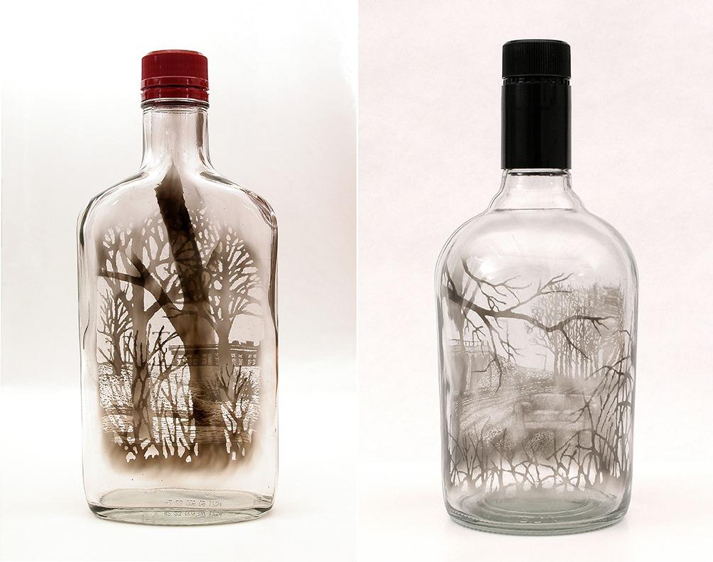 """Midwinter Crossing,"" 2010 and ""Questioning the Open Field,"" 2011, by Jim Dingilian. Smoke inside empty glass bottle."