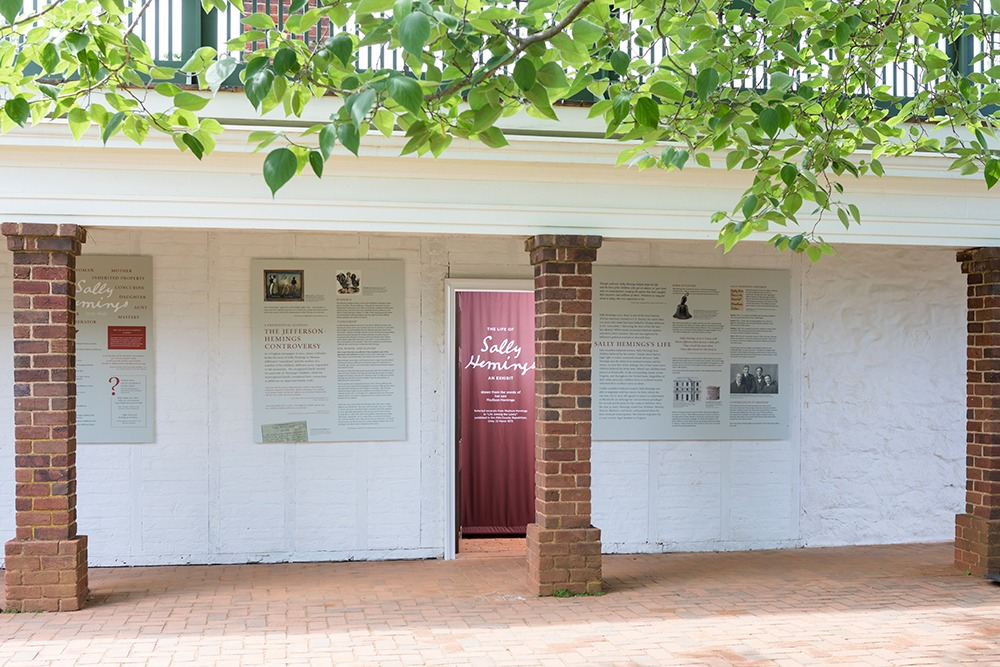 """Exterior shot of the exhibit, """"The Life of Sally Hemings."""""""