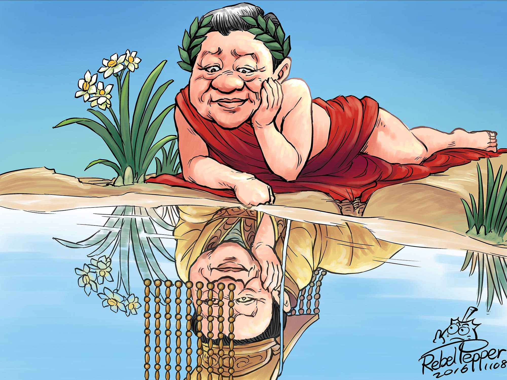 In this cartoon, Xi Jinping of China gazes at his reflection in a reference to the Greek legend of Narcissus.
