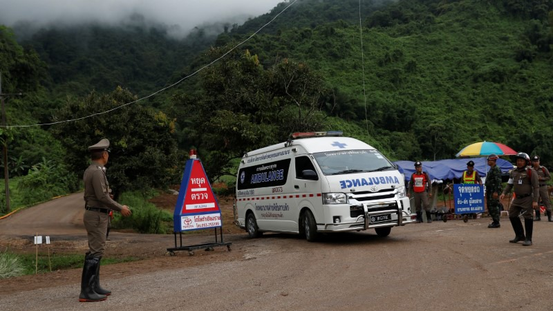 An ambulance is seen Tham Luang cave complex, where schoolboys are trapped in a flooded cave, July 9, 2018.