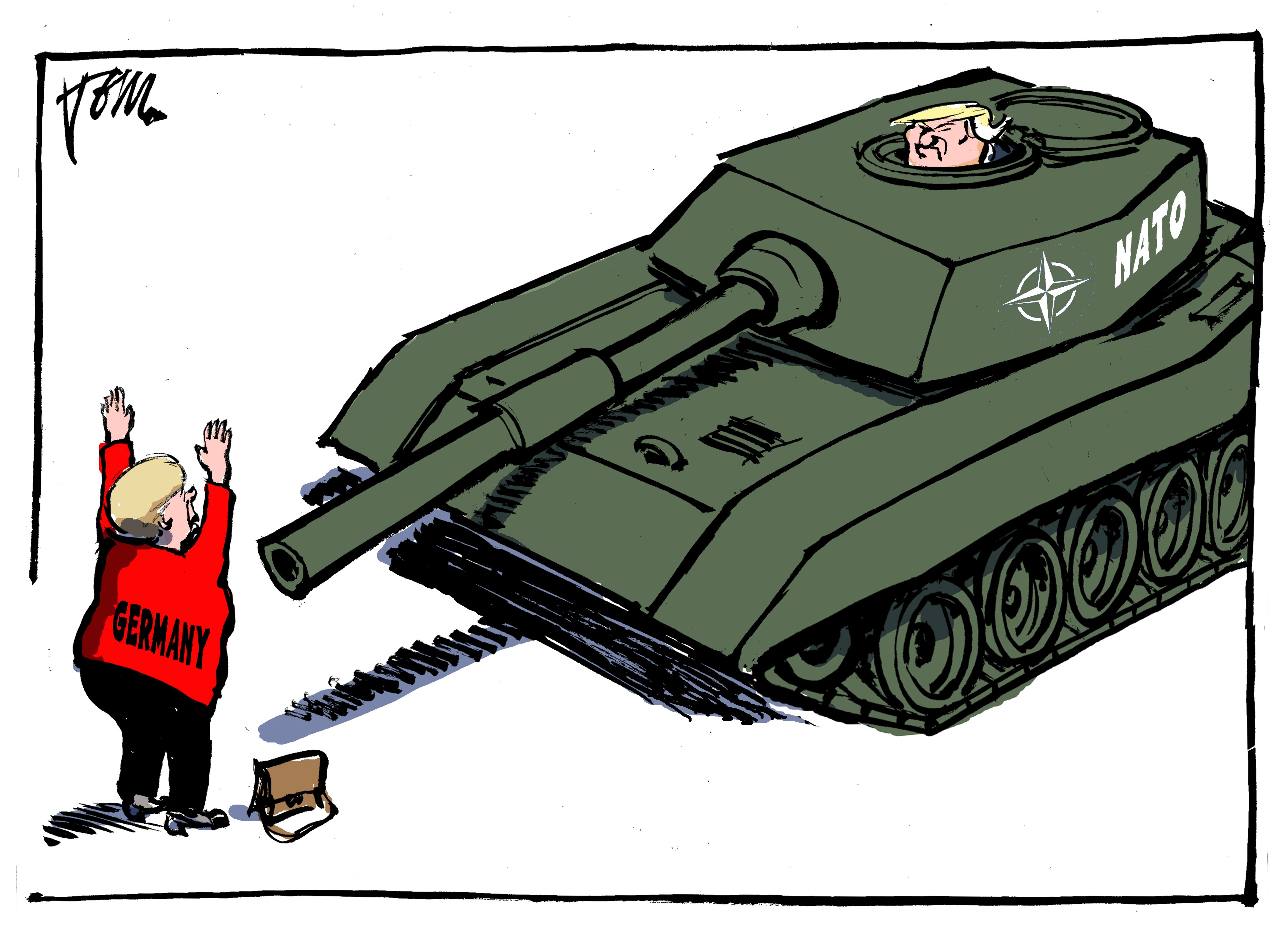 A take-off on the famous photograph of Tank Man who peacefully confronted a Chinese tank during the protests in Tiananmen Square in 1989. In this image, it's German Chancellor Angela Merkel appealing to a NATO tank driven by President Trum