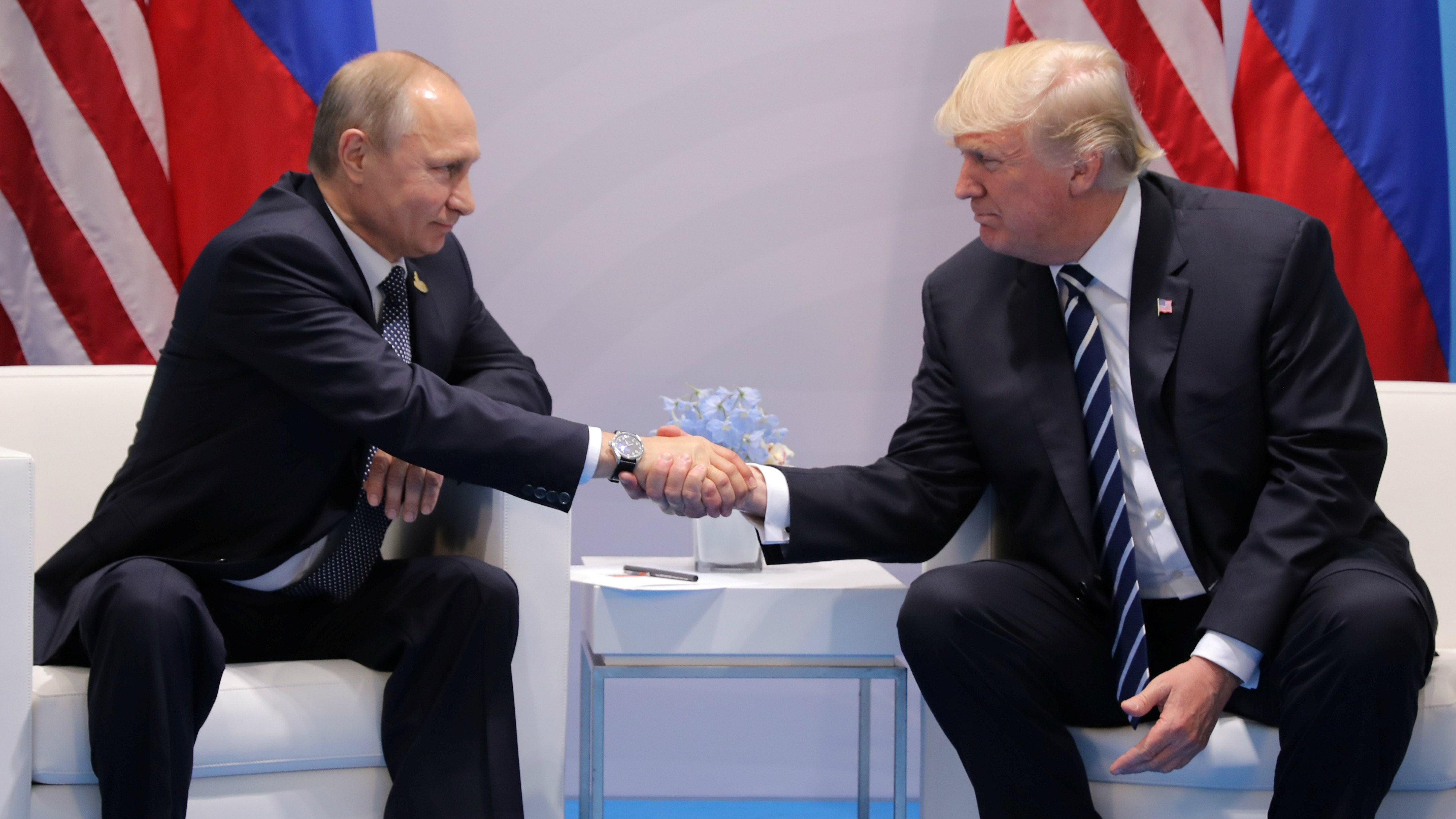 President Donald Trump shakes hands with Russian President Vladimir Putin during their bilateral meeting at the G20 summit in Hamburg, Germany, July 7, 2017.