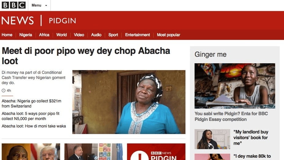 a screenshot of the BBC's pidgin language site