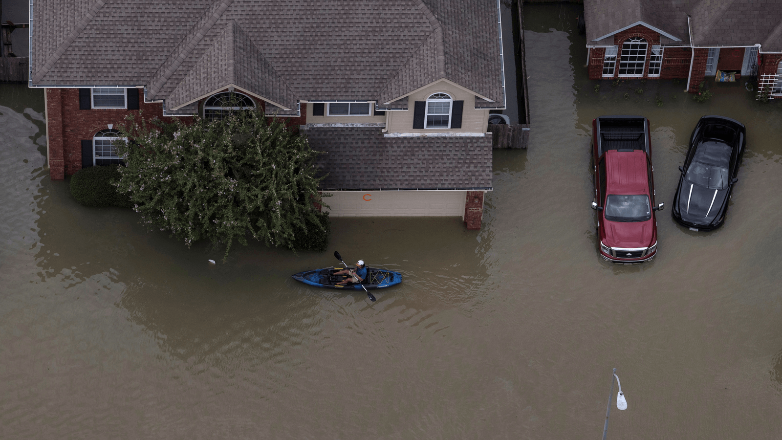 flooded streets in houston after hurricane harvey