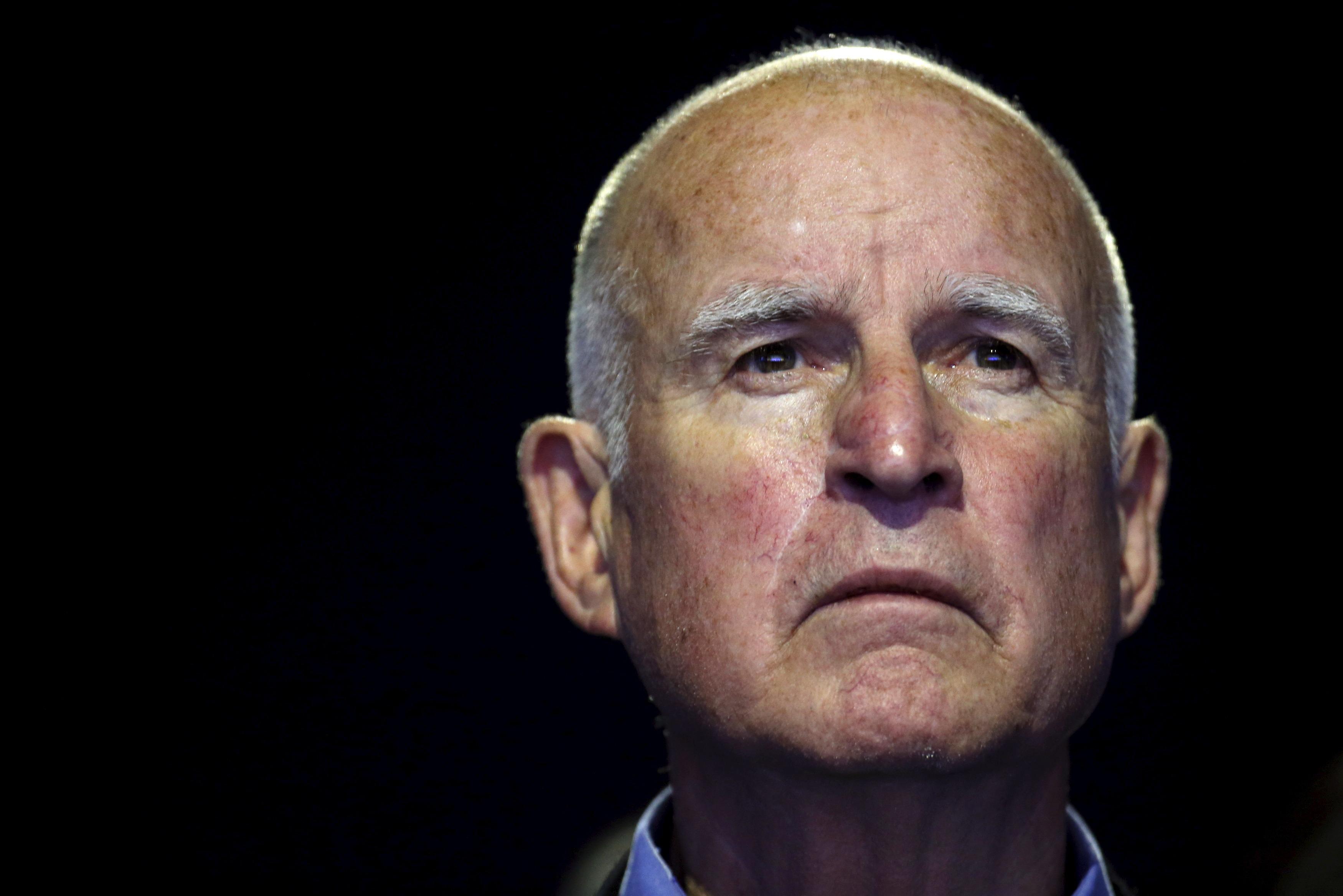 """a closeup of California Governor Edmund """"Jerry"""" Brown"""