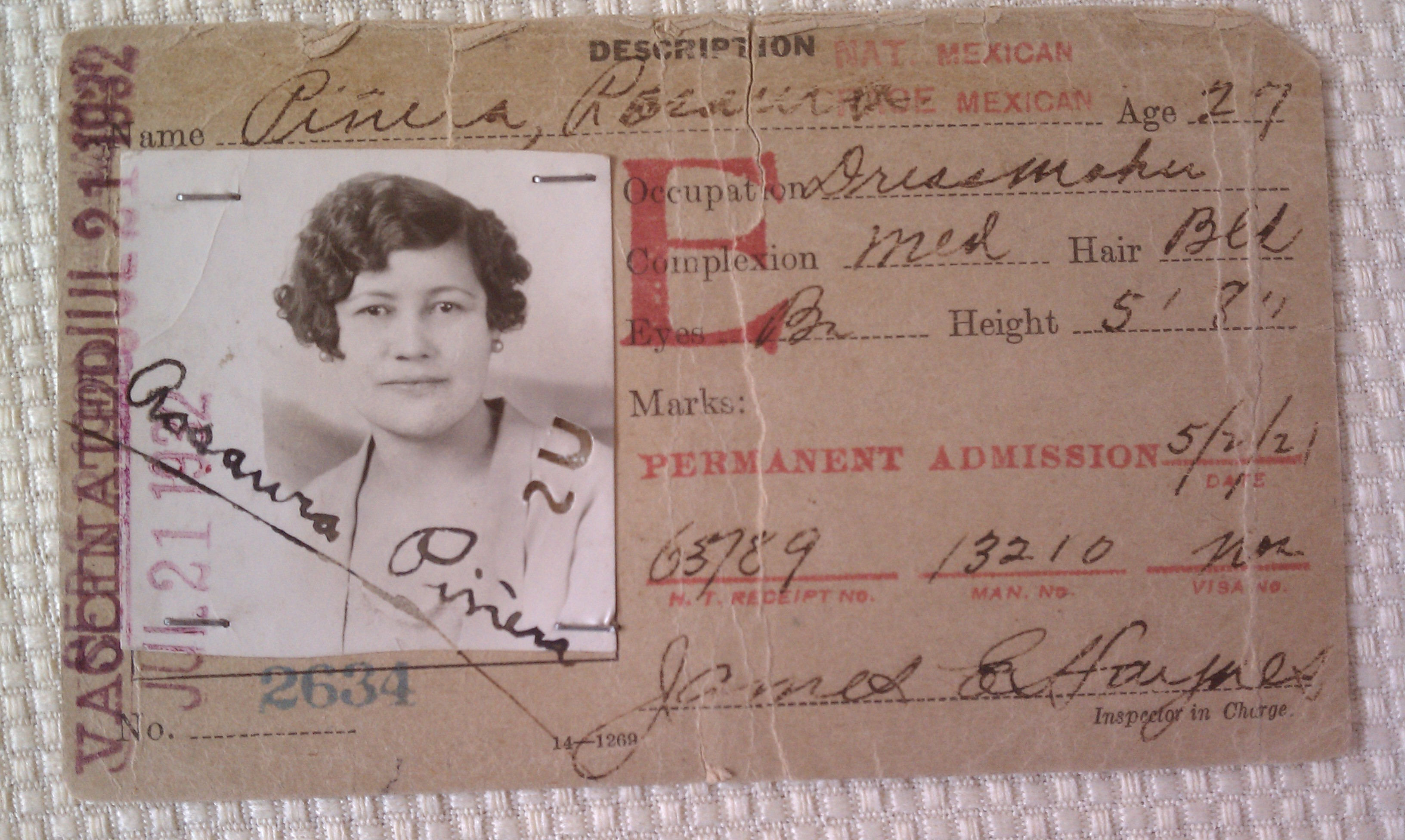 An immigrant ID card from the 1920s and 30s for Rosaura Piñera, who later became a US citizen at age 100.