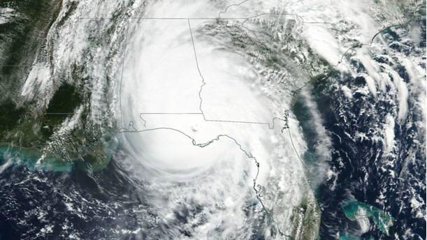 Satellite mapping image of Hurricane Michael making landfall in Florida