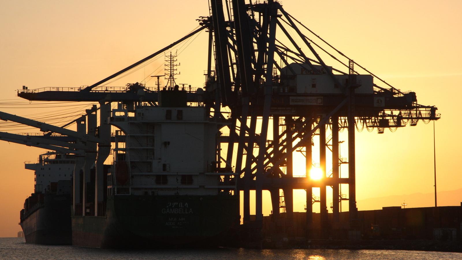 Djibouti City port, sundown.