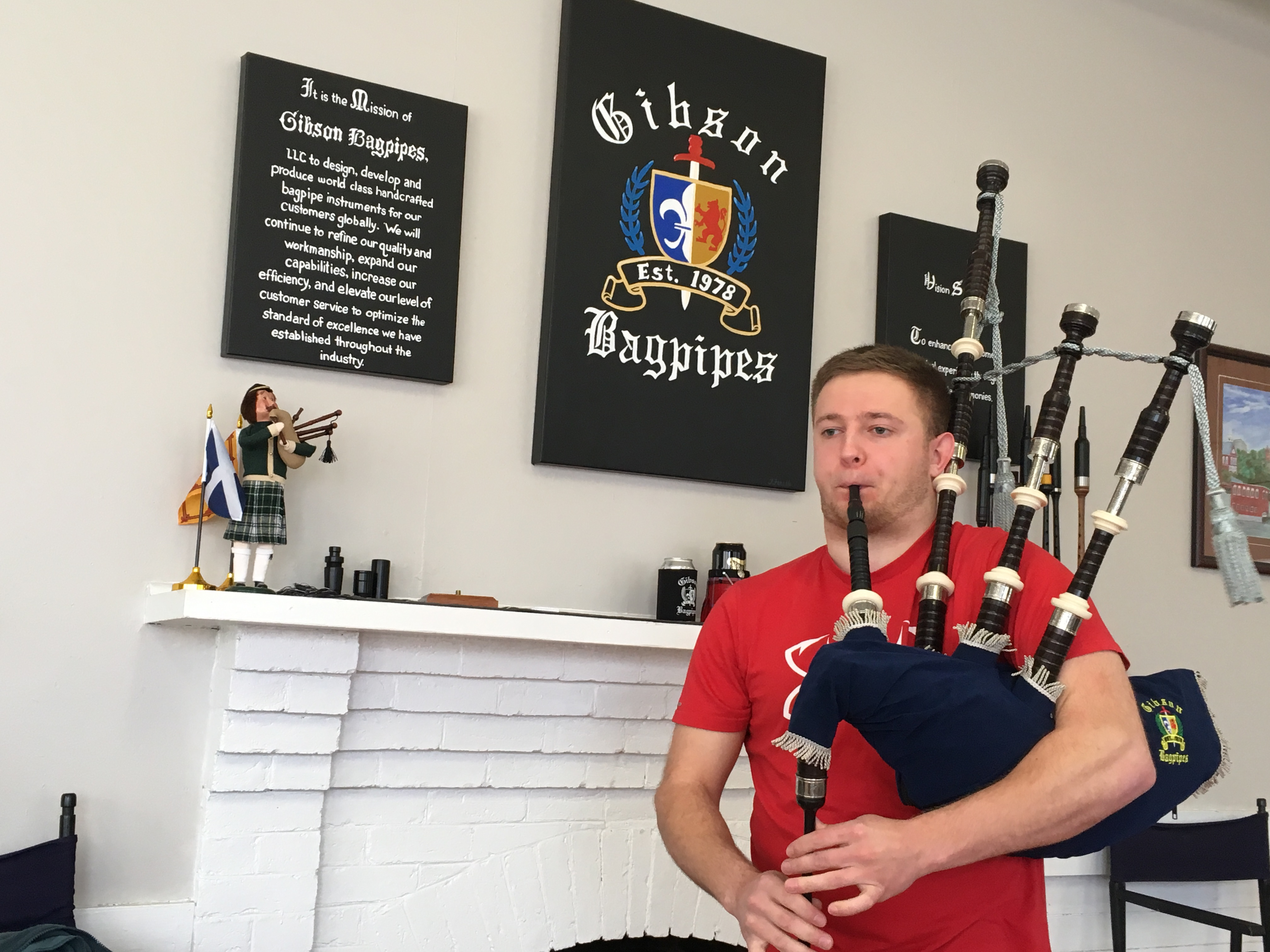 Eryk Bean is in charge of quality control and product development at Gibson Bagpipes
