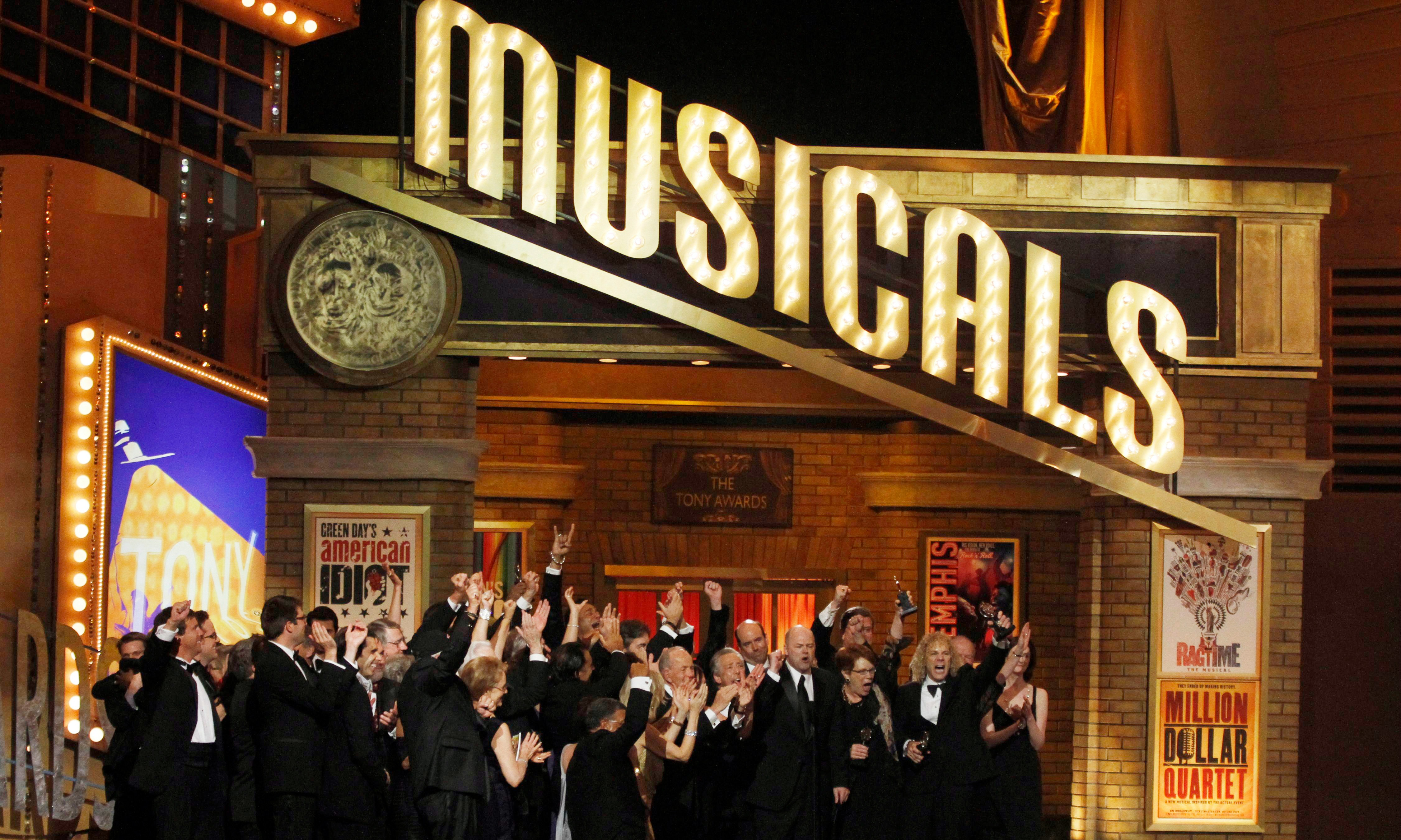 """Cast members of the play """"Memphis"""" at the 64th annual Tony Awards."""