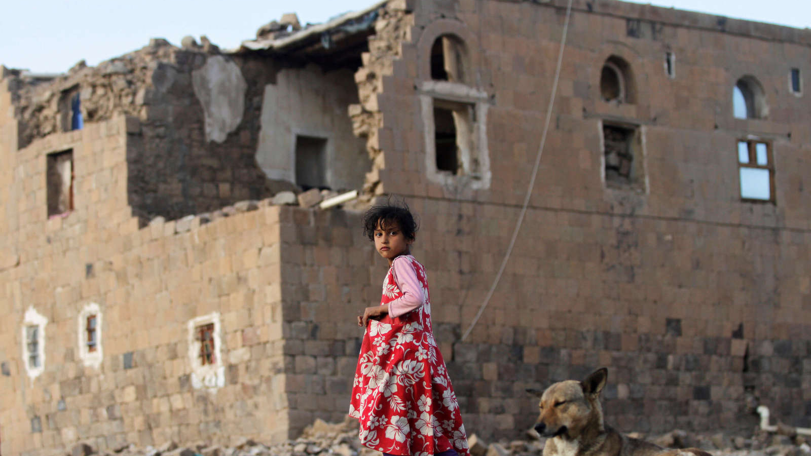 A little girl wearing a red dress stands next to a dog near a destroyed building.